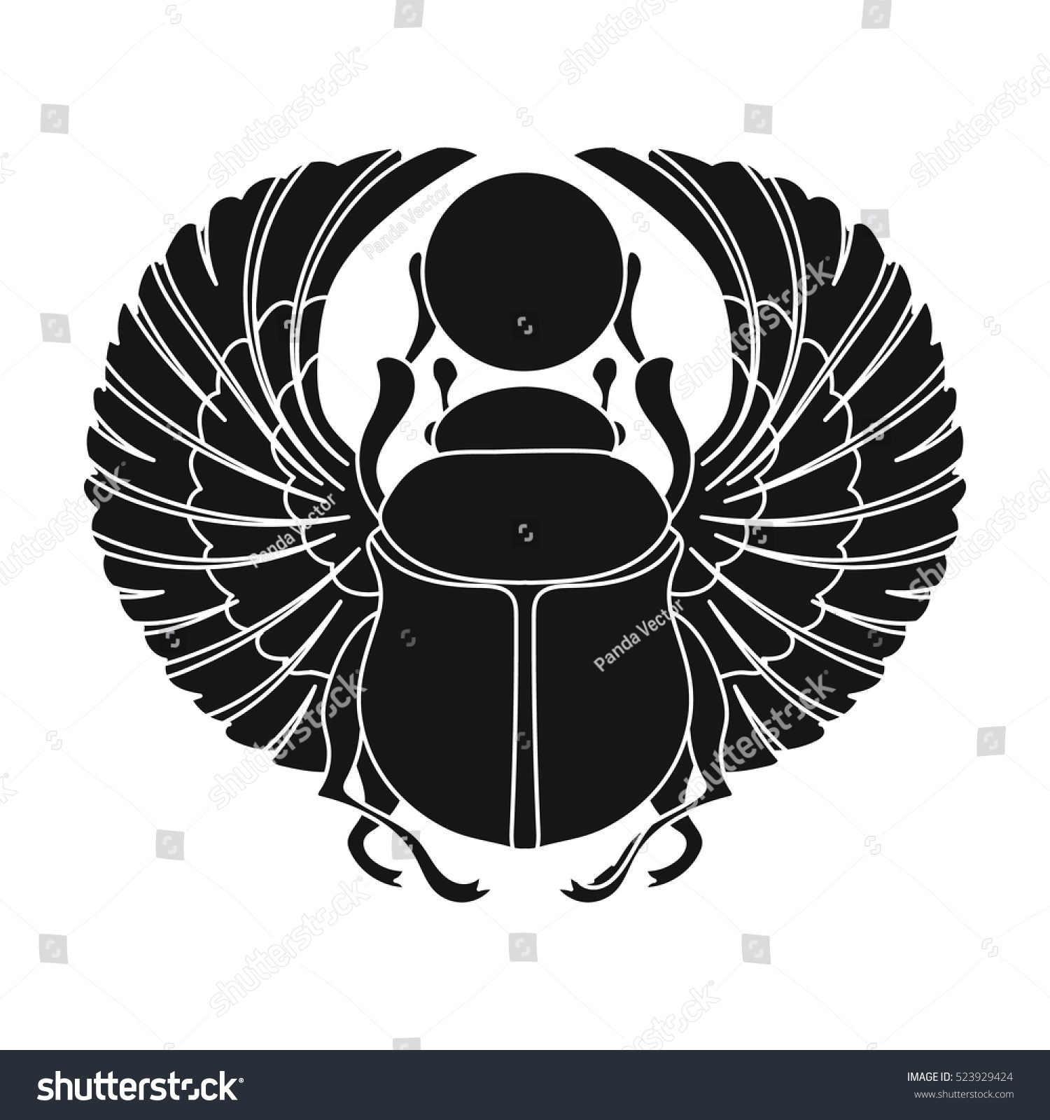 Scarab Icon Black Style Isolated On Stock Vector Royalty Free