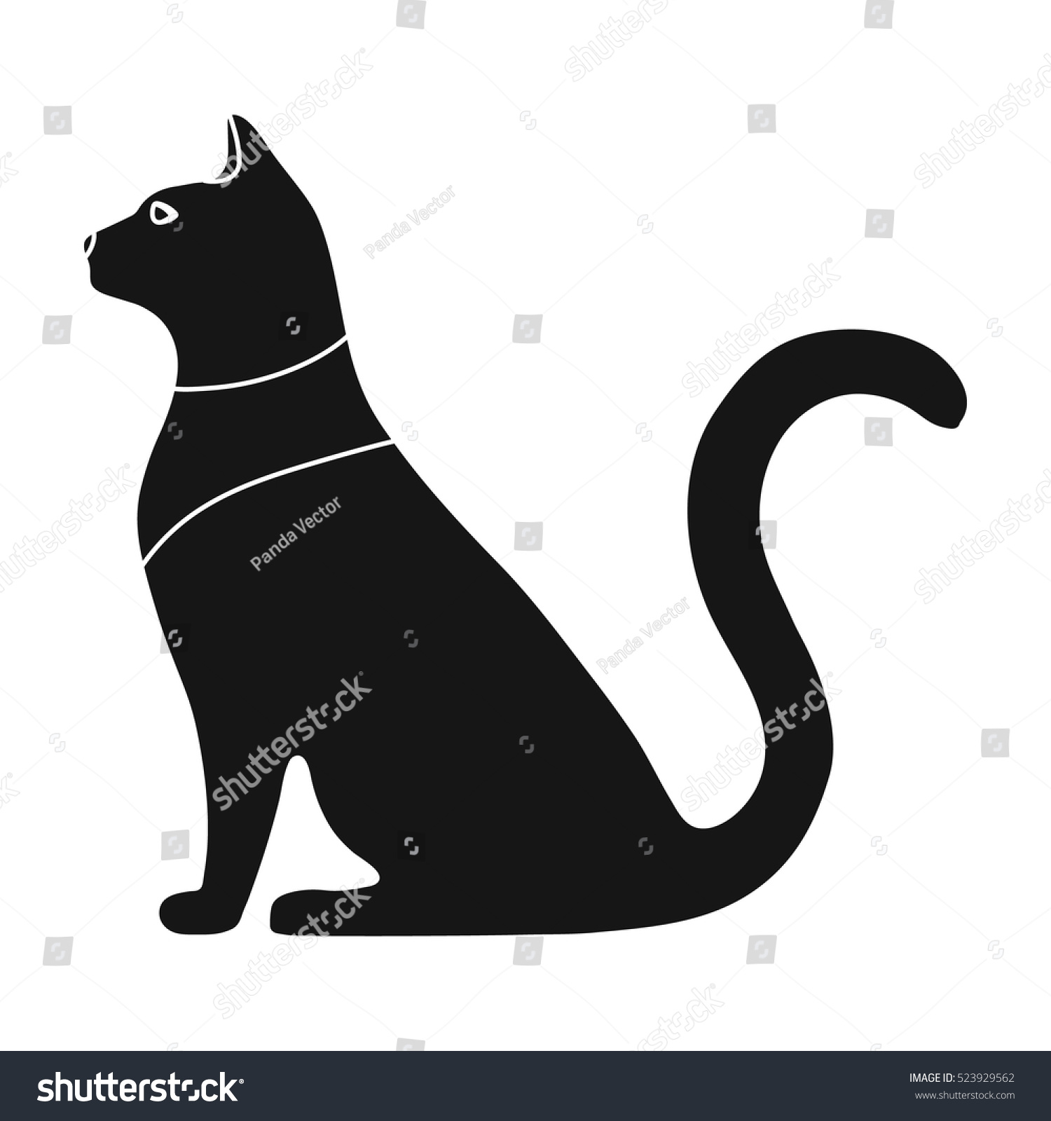 Cat Goddess Bastet Icon Black Style Stock Vector Royalty Free