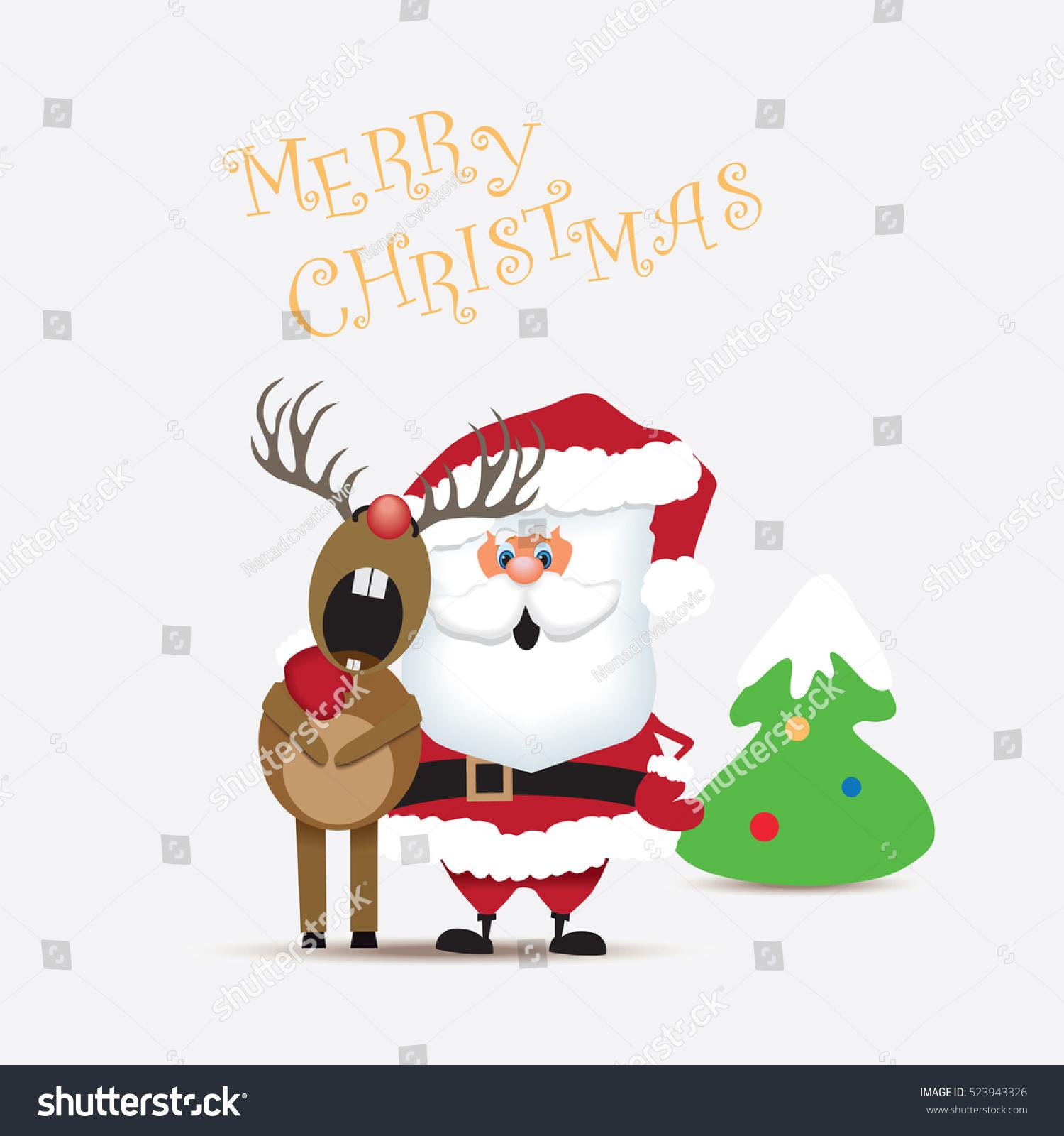 Santa Claus And Reindeer Singing A Christmas Carol.Vector ...