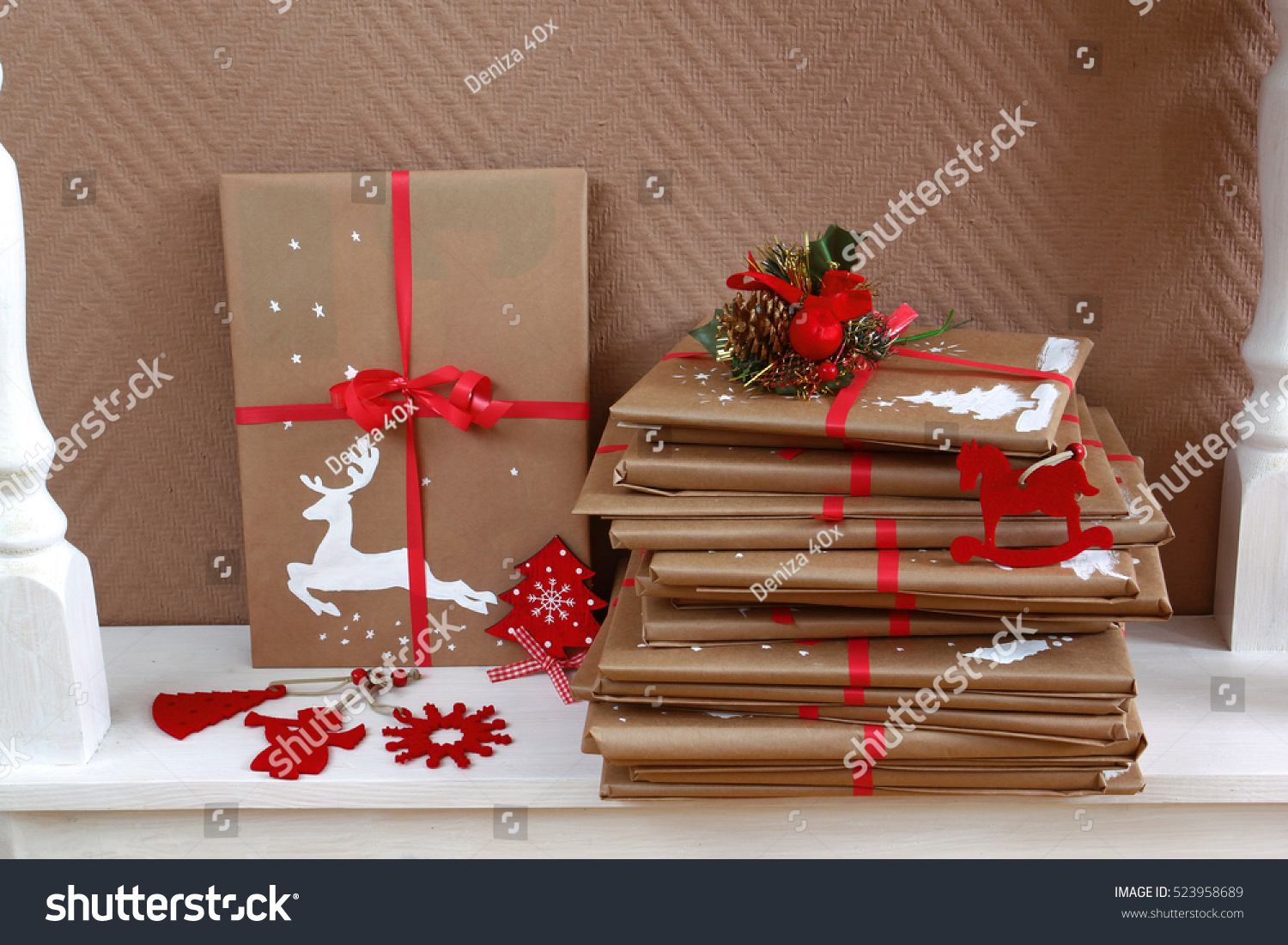 Many Books Christmas Gifts Wrapped Homemade Stock Photo (Edit Now ...