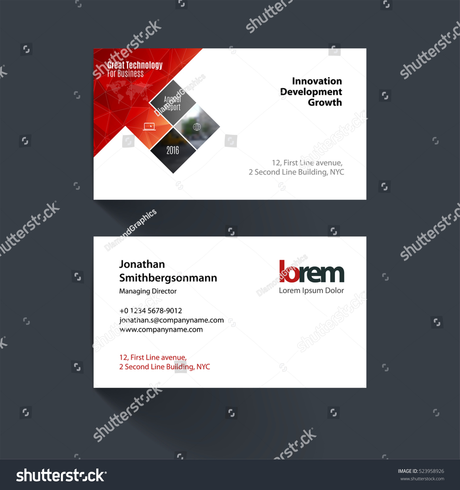 vector business card template red rectangles stock vector royalty