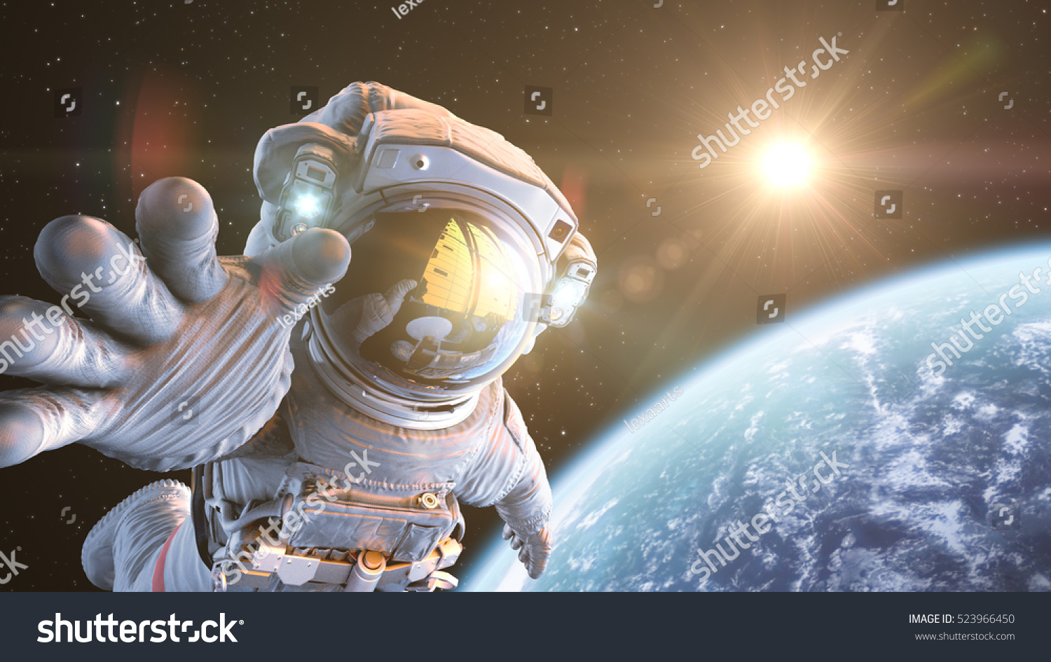 Astronaut outer space 3d render stock illustration for Outer space 3d model