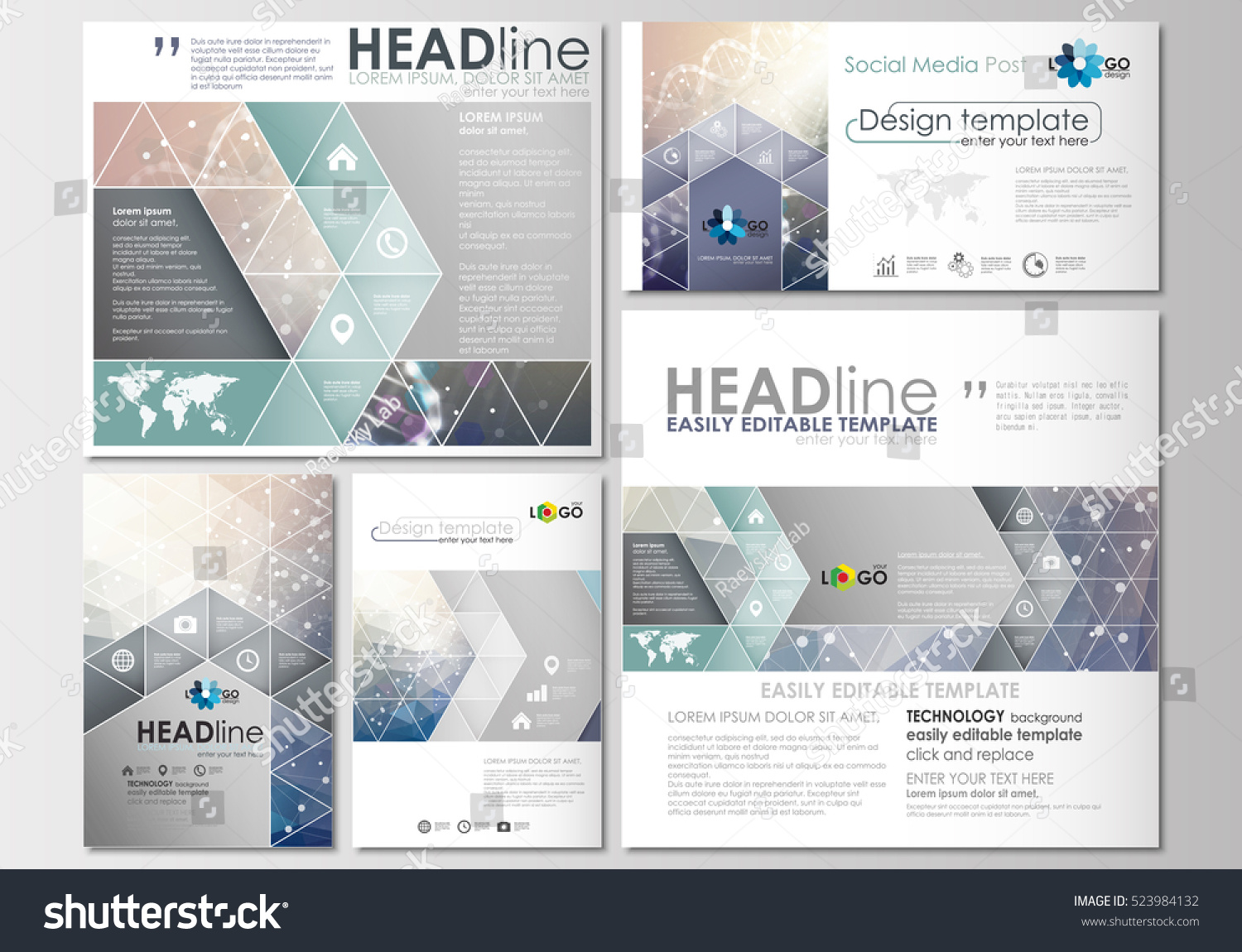 Social media posts set. Business templates. Cover design template, easy editable, flat layouts in popular formats. DNA molecule structure on blue background. Scientific research, medical technology