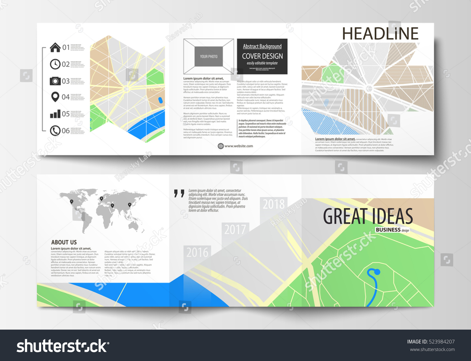 set business templates square tri fold stock vector royalty free