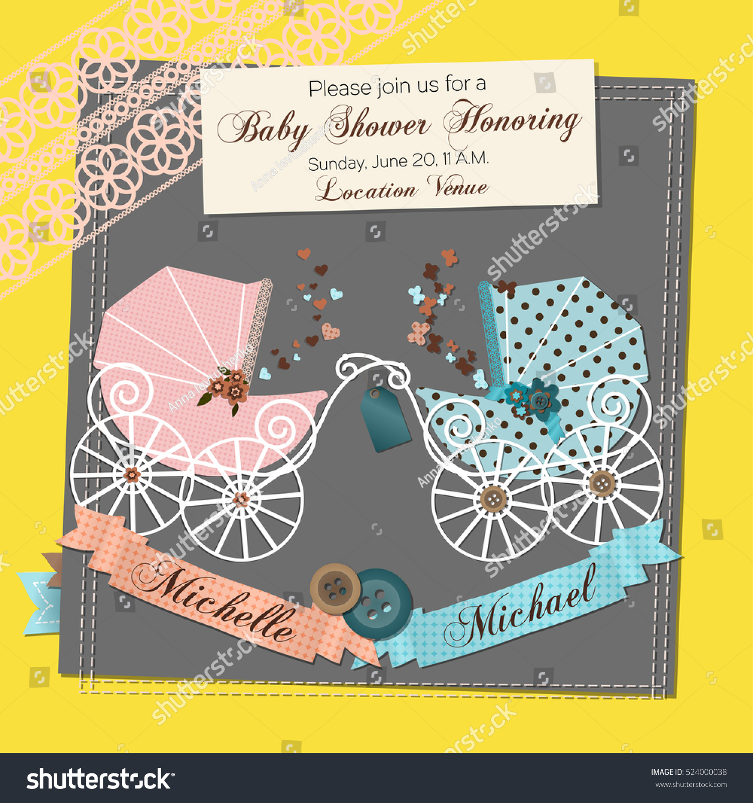 Twins Baby Shower Invitation Template Vector Stock Royalty