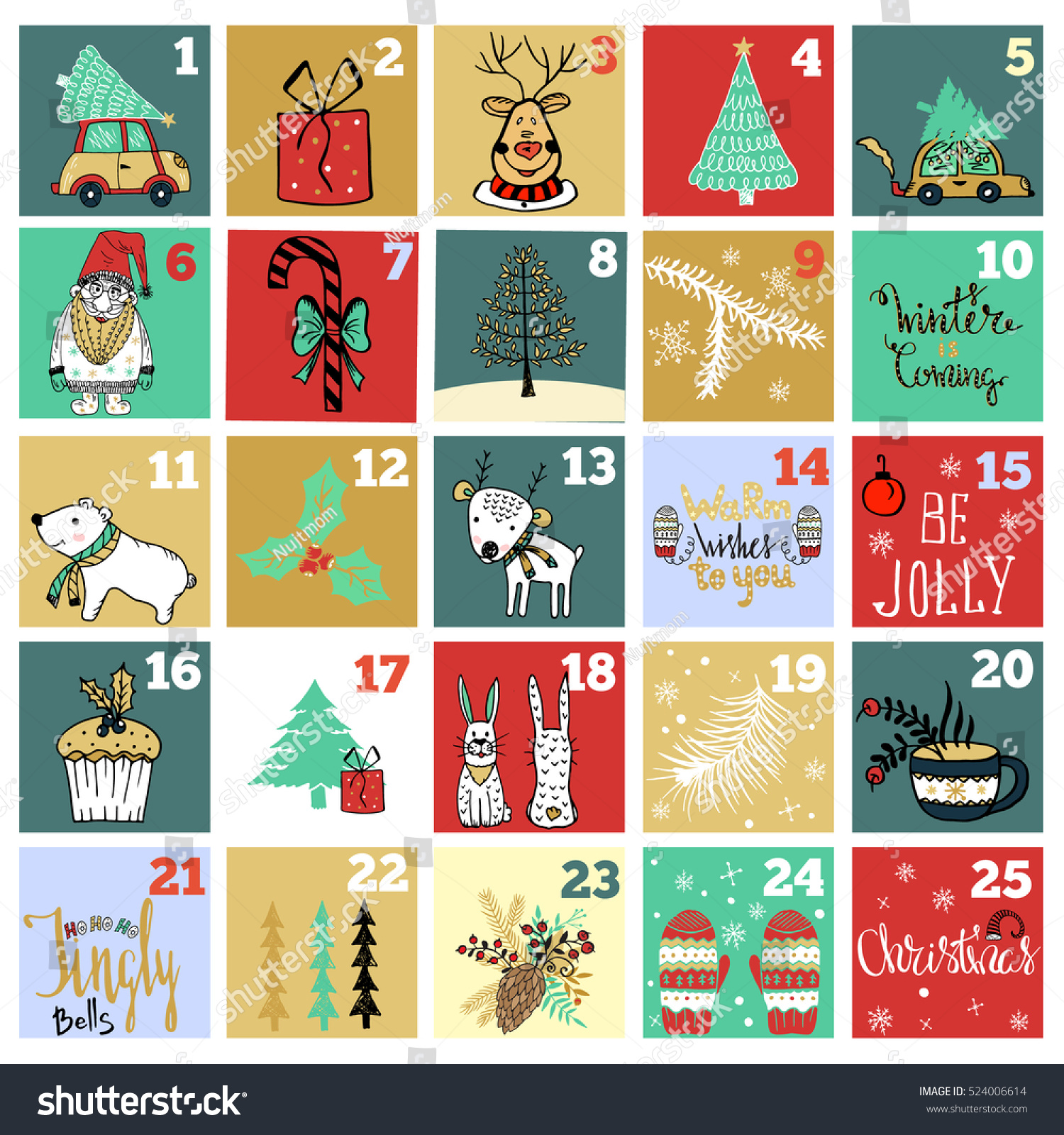 Typography Advent Calendar : Christmas advent calendar hand drawn design stock vector