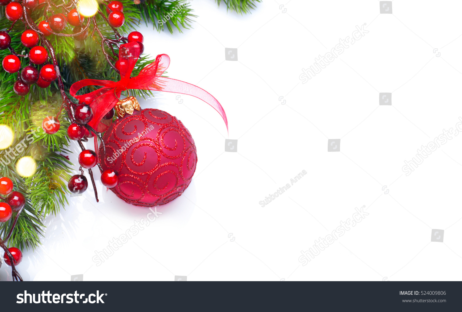 red christmas and new year decoration isolated on white background border art design with holiday