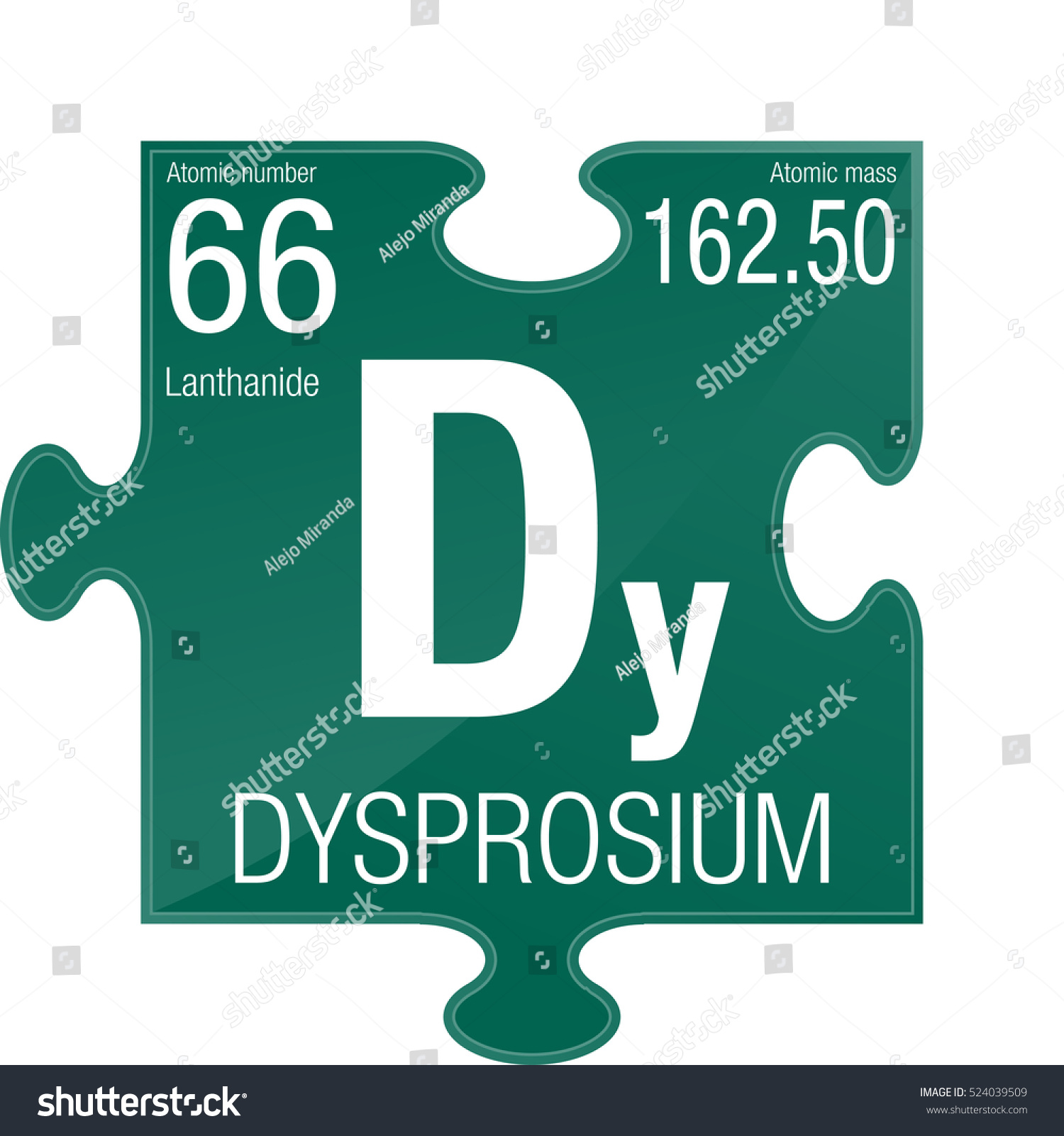 Dysprosium Symbol Element Number 66 Periodic Stock Vector Royalty