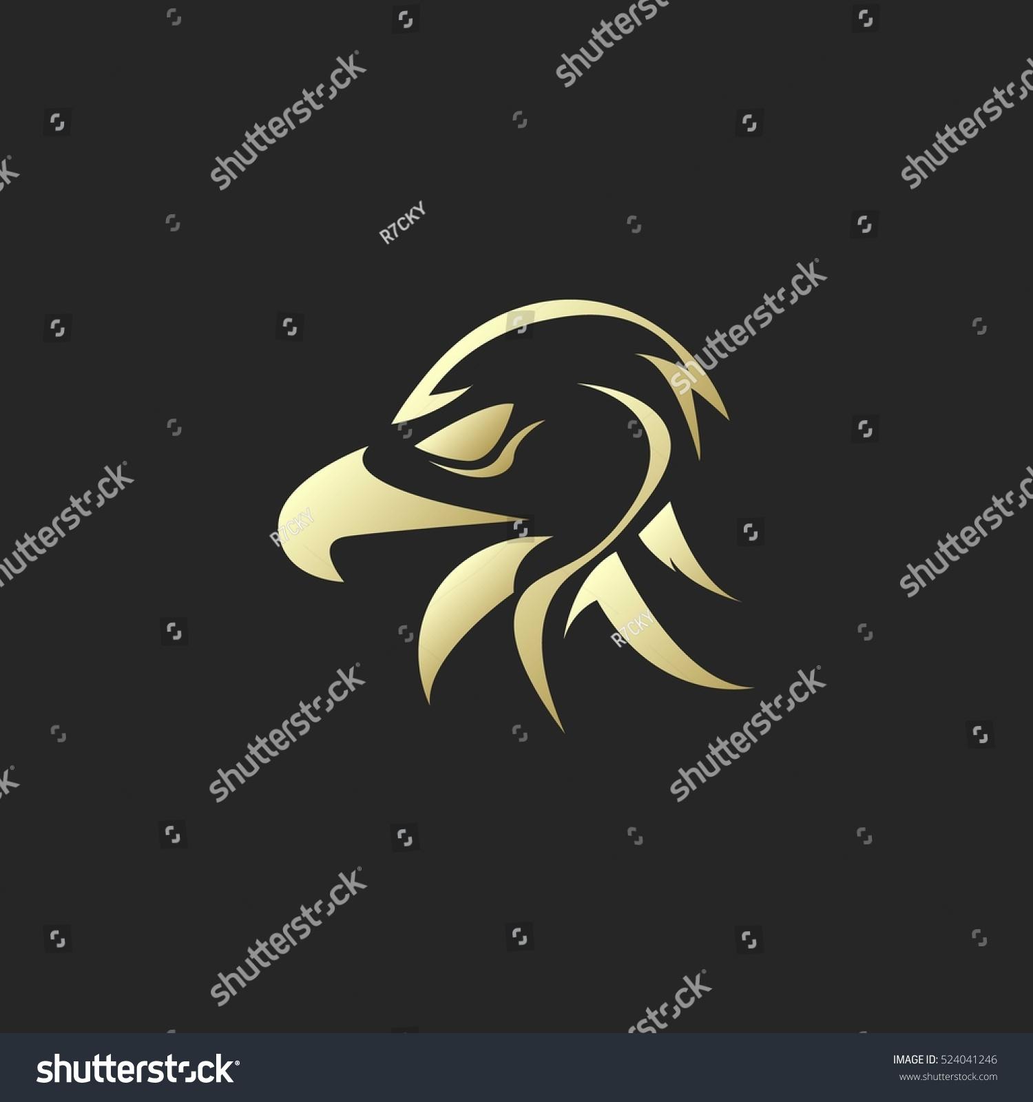 golden eagle head silhouette logo stock vector