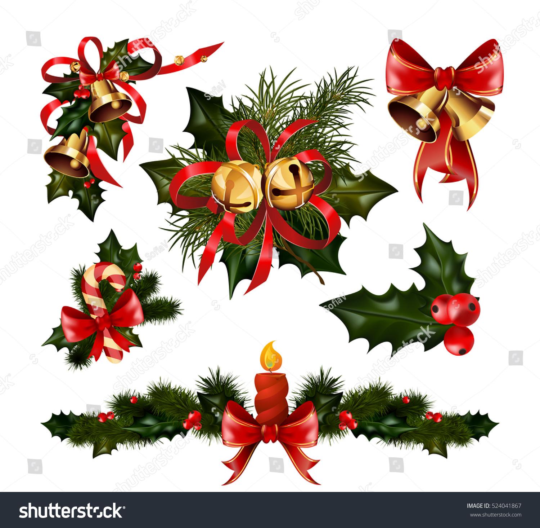 Christmas Tree Decoration Elements: Christmas Decorations Fir Tree Golden Jingle Stock Vector