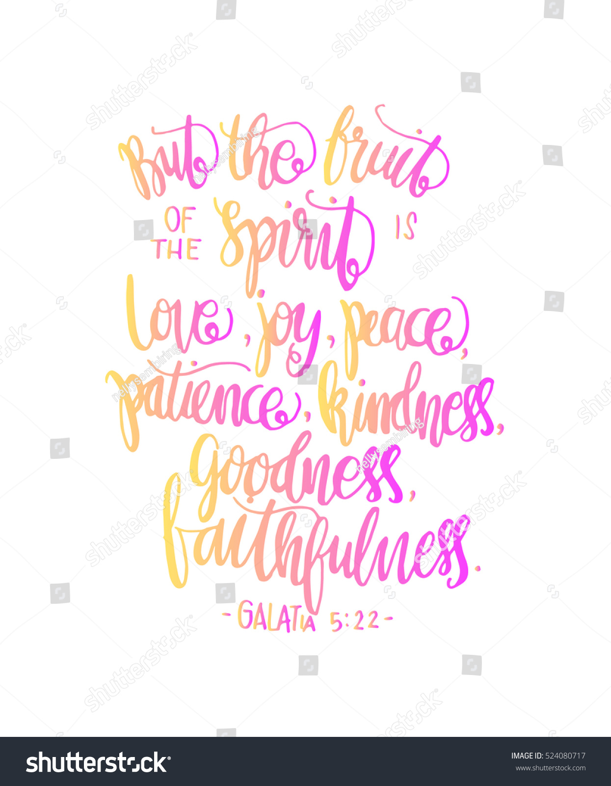 Bible Quotes About Happiness Fruits Happiness Hand Drawn Lettering Bible Stock Vector 524080717