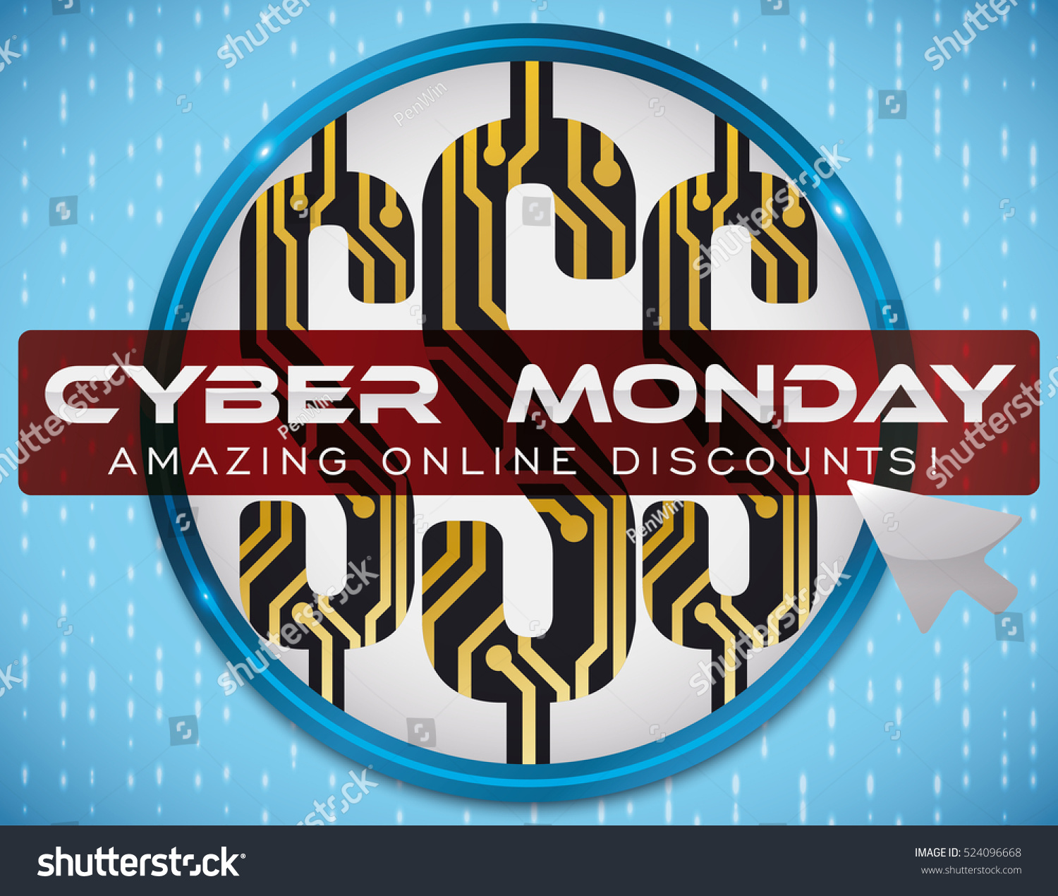 Poster Round Button Money Symbols Circuit Stock Vector Royalty Free Design Online With Inside Announcing Cyber Monday Discounts And