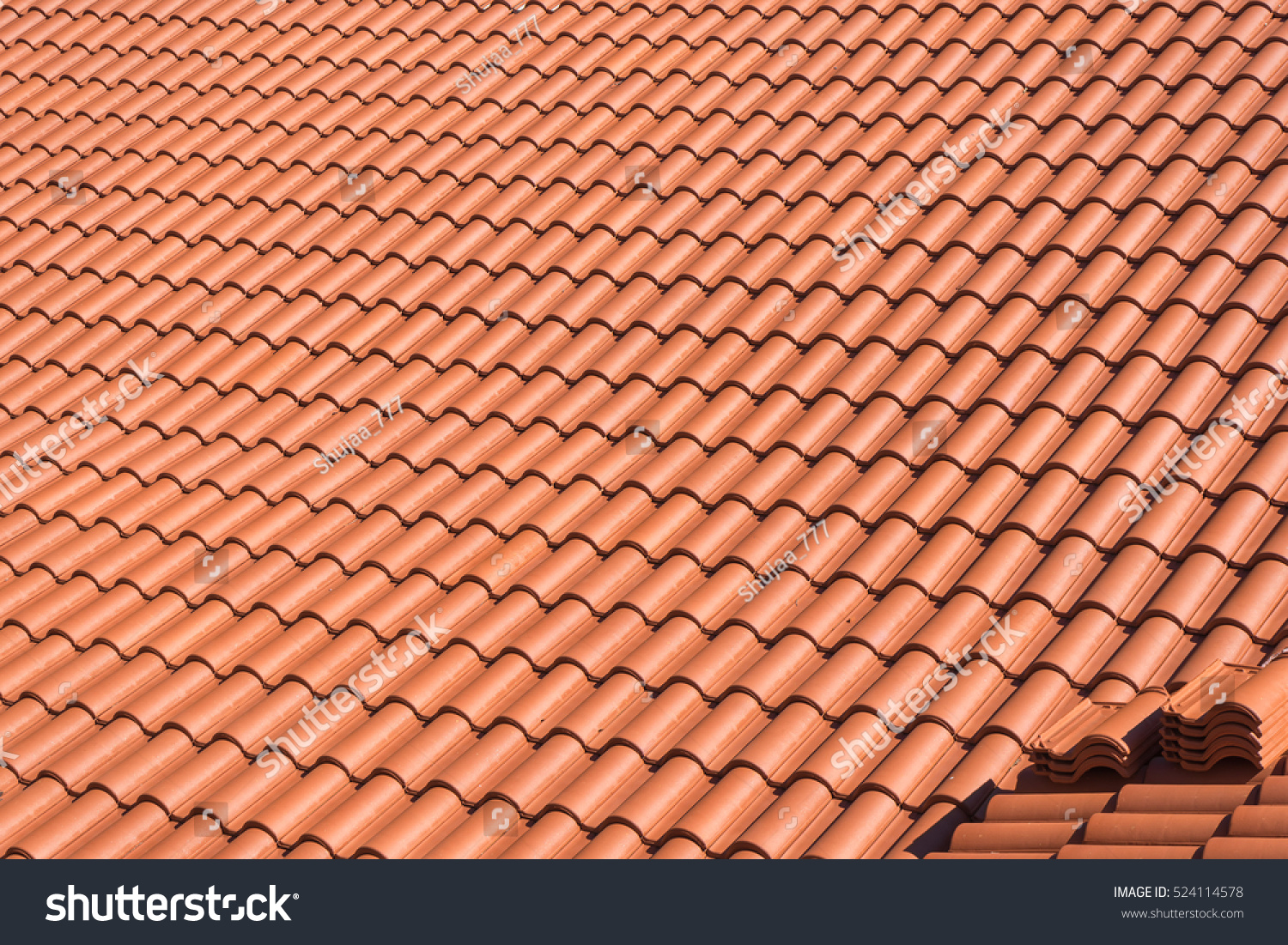 Top View On Terracotta Schist Roof Stock Photo 524114578