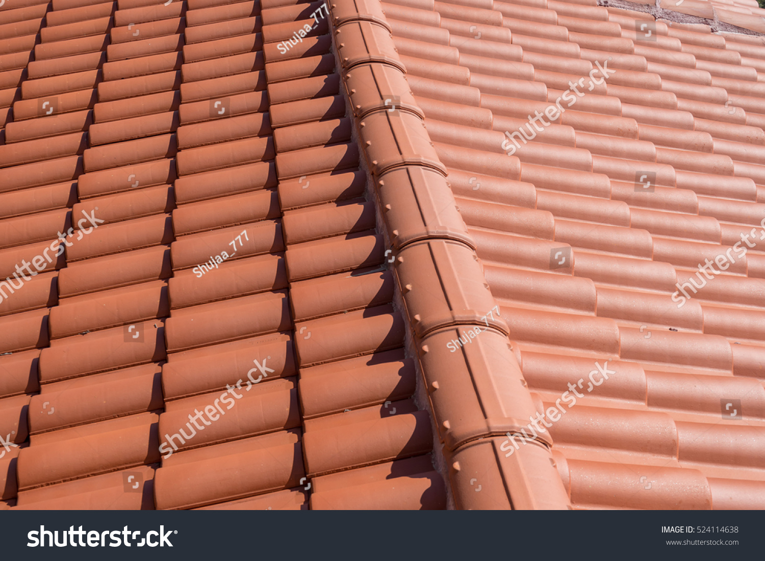 Top View On Terracotta Schist Roof Stock Photo 524114638
