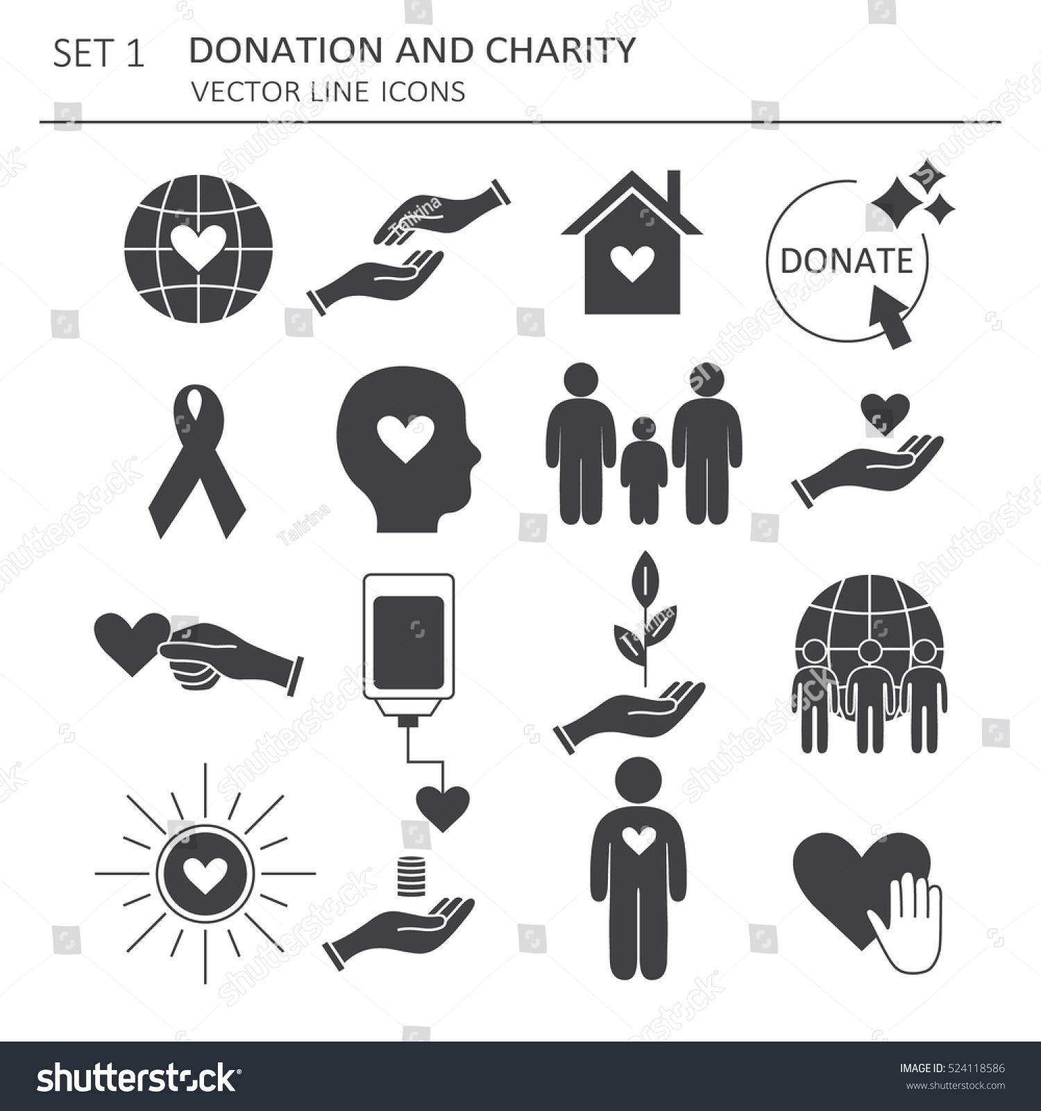 Big Set Symbols Charity Aid Donations Stock Vector Royalty Free
