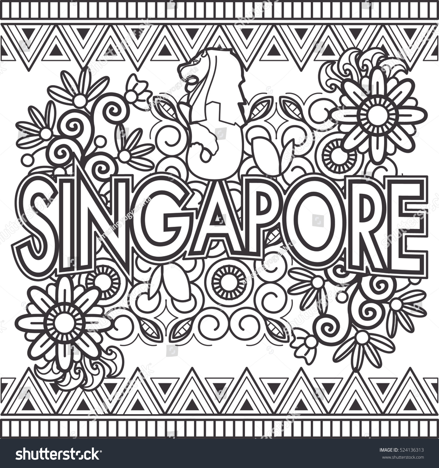 Colouring book for adults singapore - Singapore Doodle Art Text