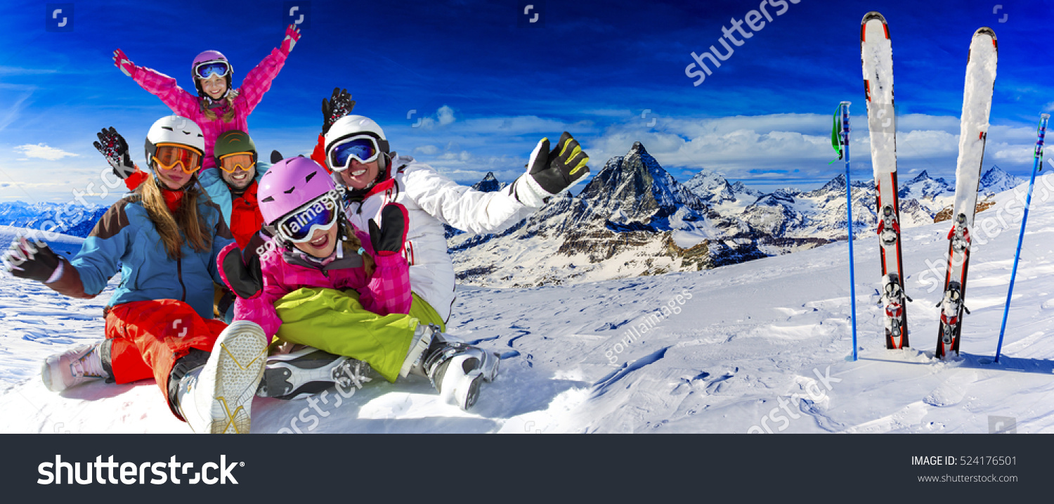 Skiing winter snow sun fun family stock photo 524176501 for Vacation in the snow