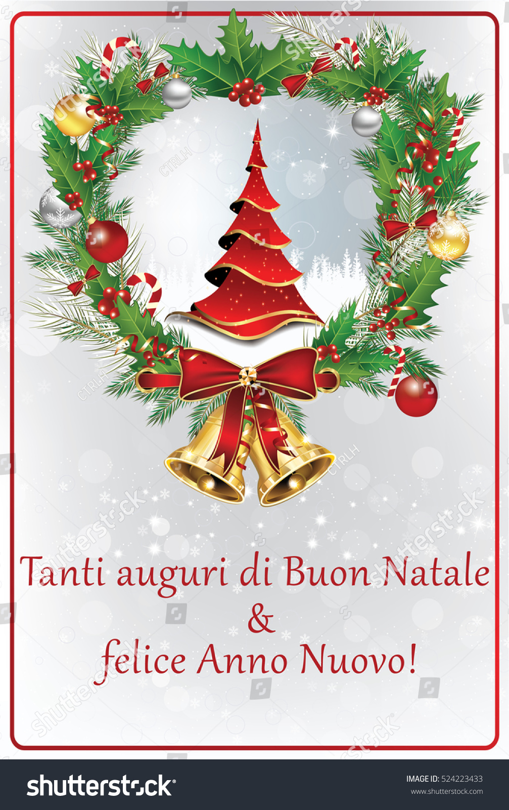 italian winter holiday greeting card merry christmas and happy new year italian language