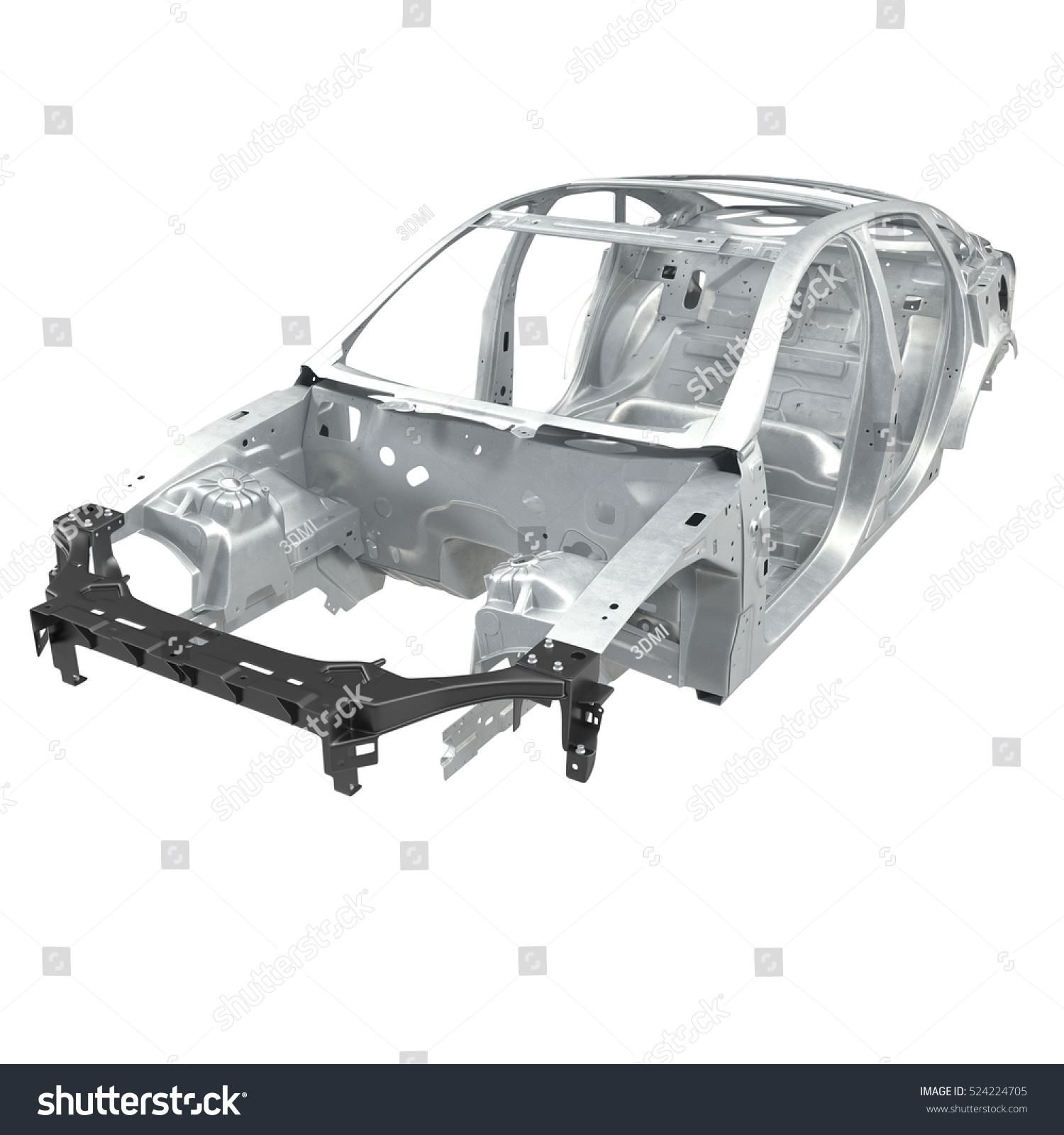 Car Frame Without Chassis On White Stock Illustration 524224705 ...
