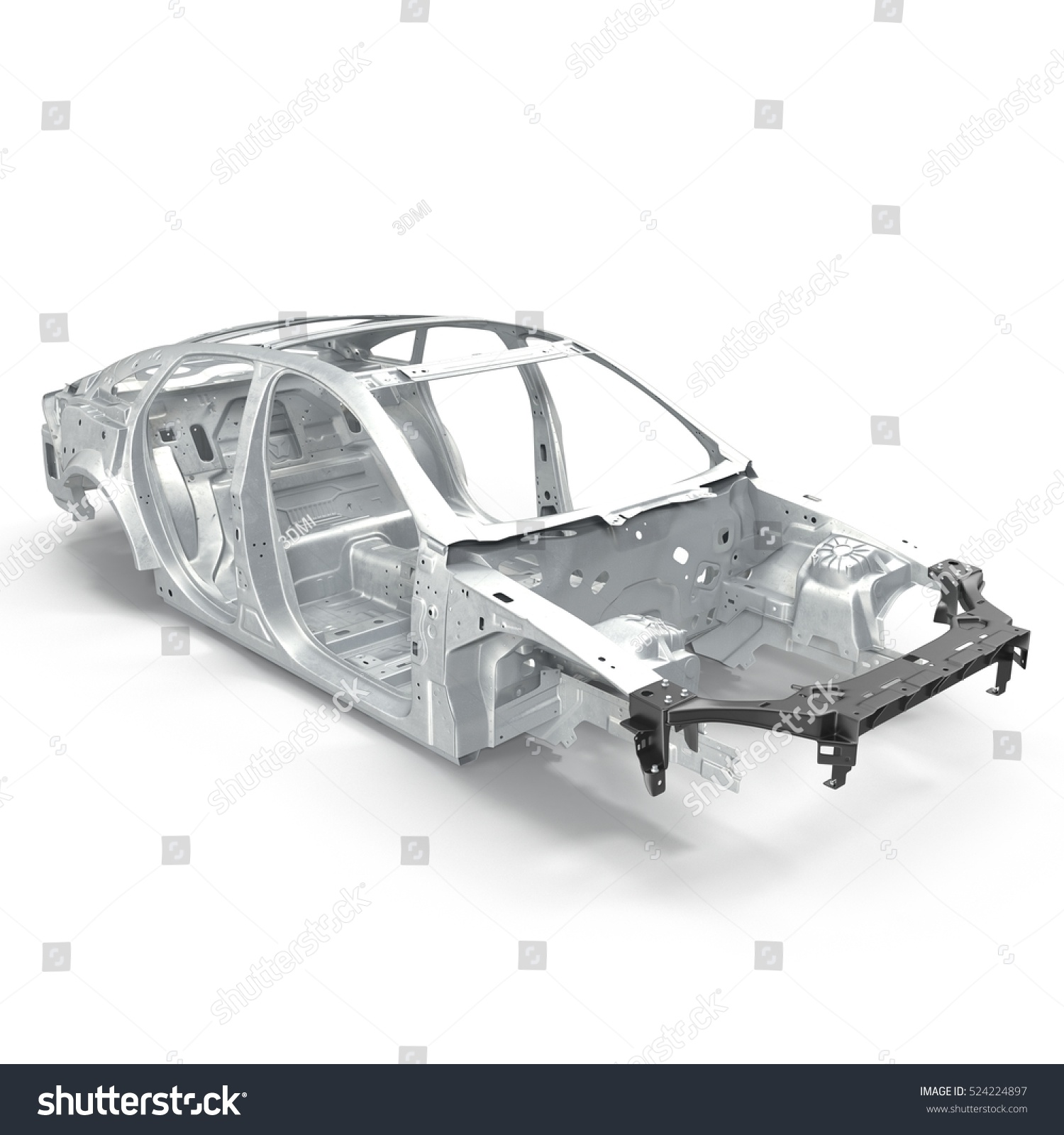 Angle from up Car Frame with Chassis on white. 3D illustration | EZ ...