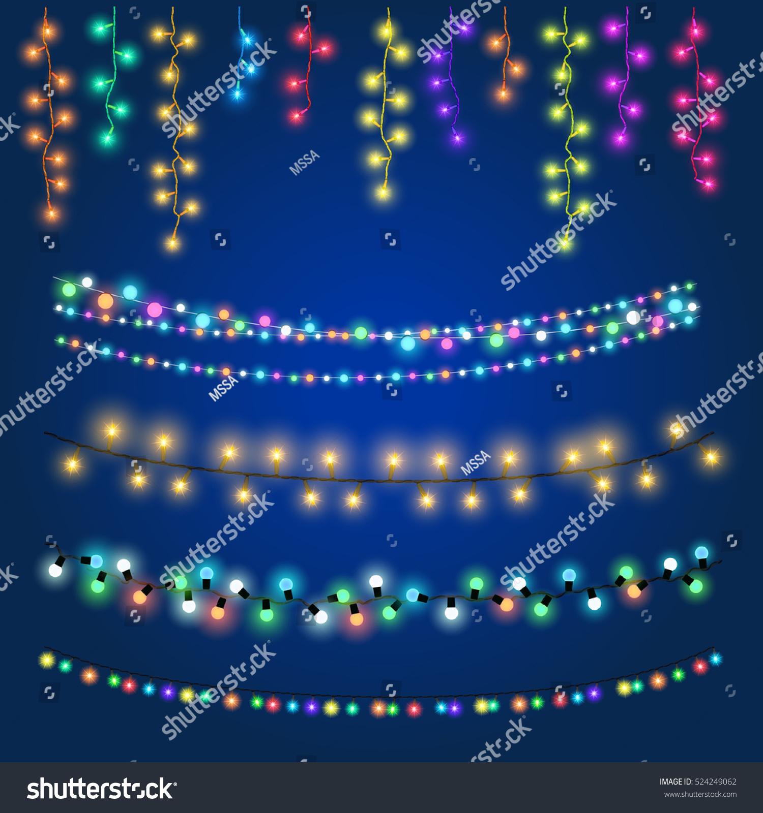 Christmas Fairy Hanging Lights Vector Illustration Stock Vector 524249062 - Shutterstock