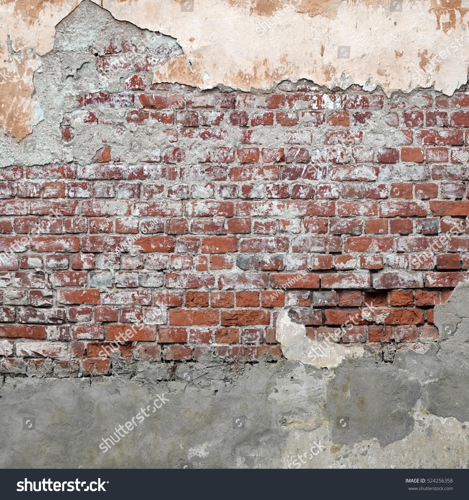 Stucco On Frame : Grungy brickwall broken stucco frame texture stock photo