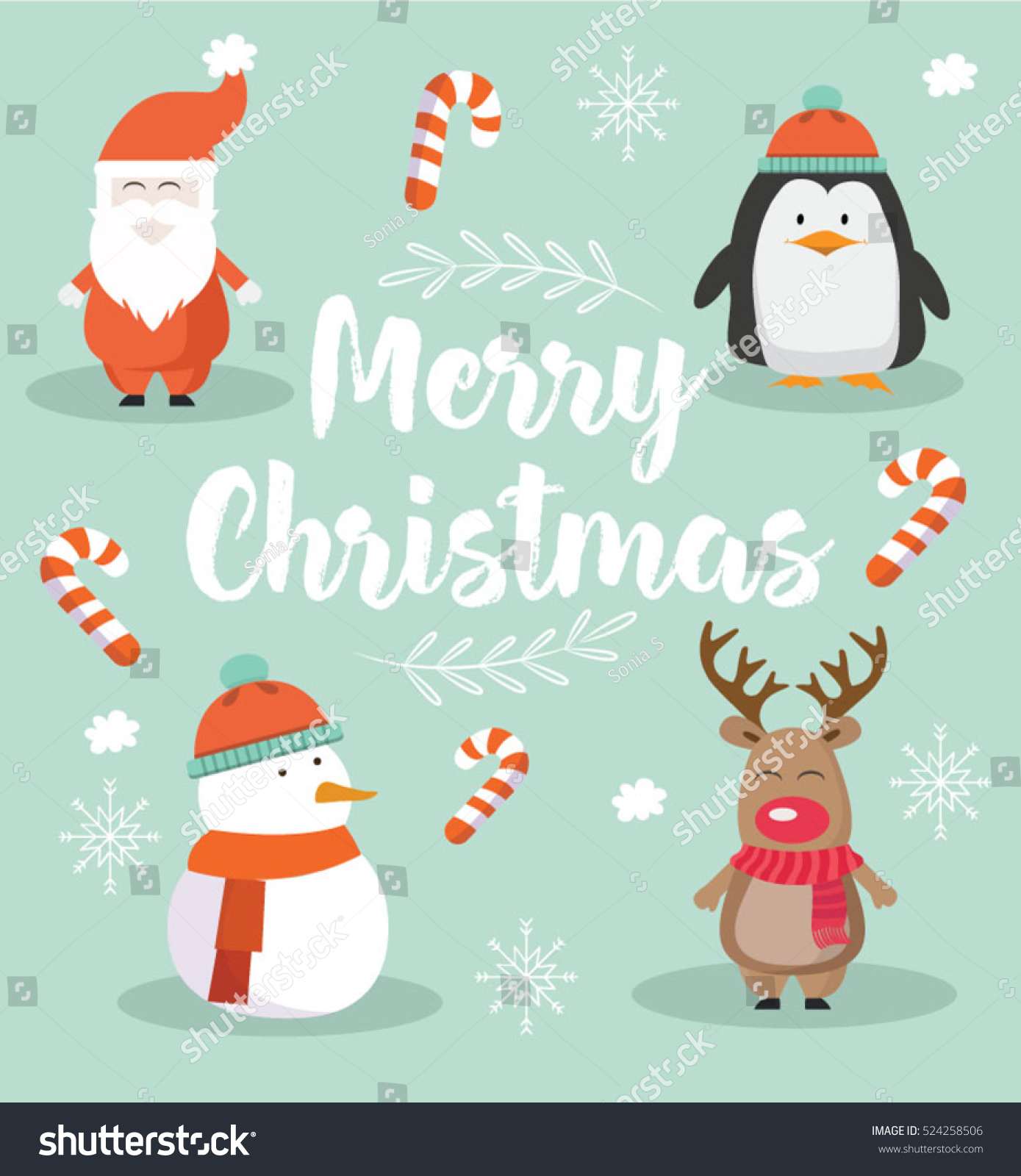 merry christmas cute modern card with santa penguin snowman and deer