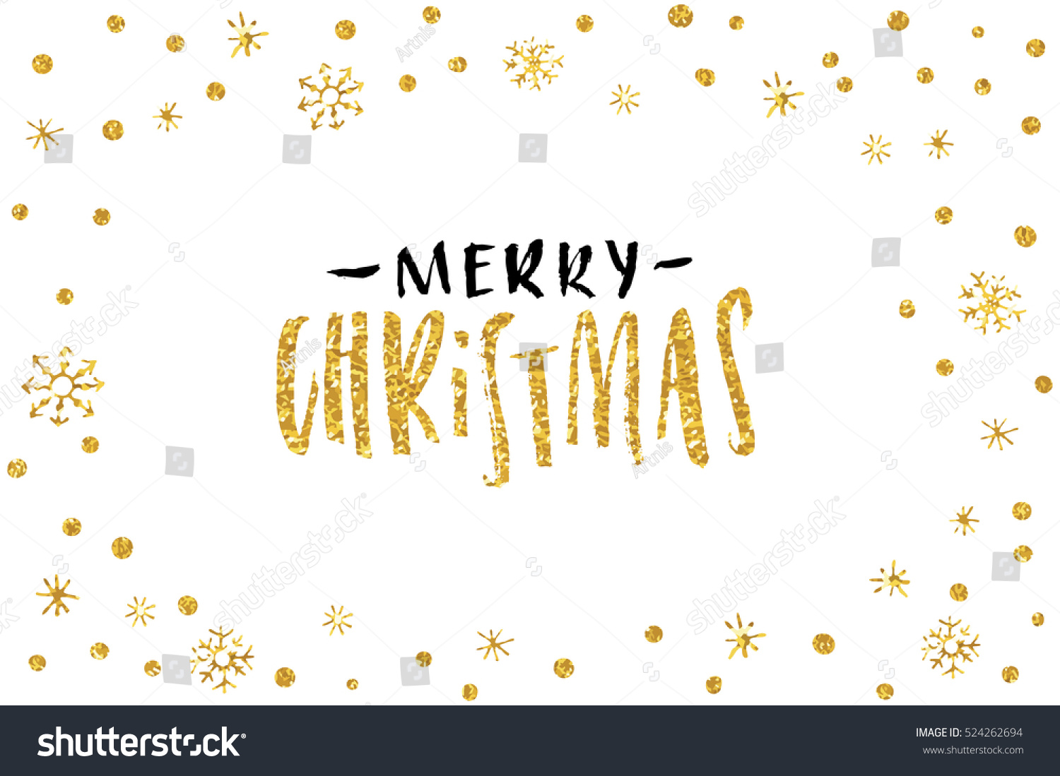 Pretty Merry Christmas Card Template Gold Stock Vector (Royalty Free ...