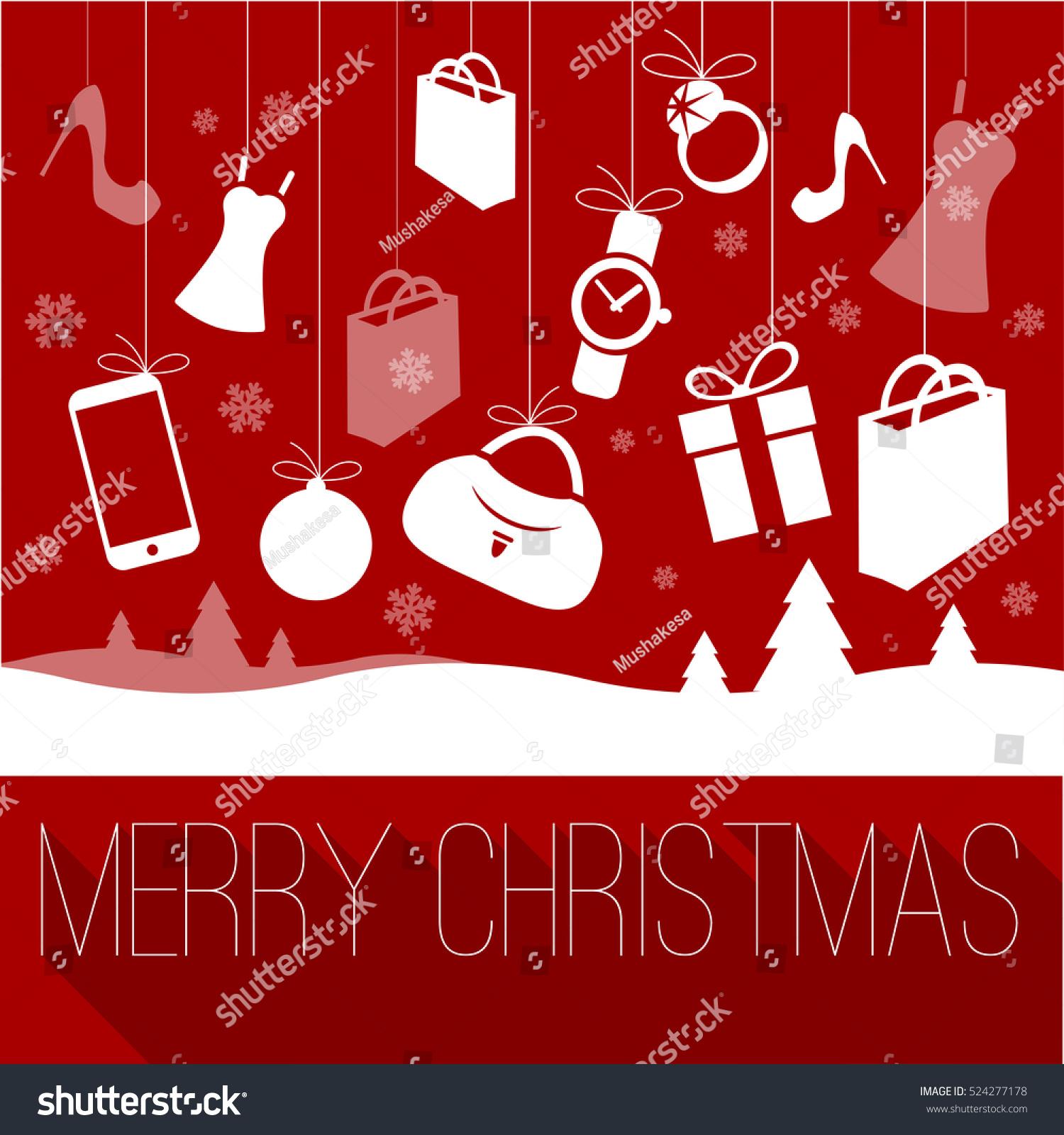 Christmas New Year Shopping Greeting Card Stock Vector (Royalty Free ...