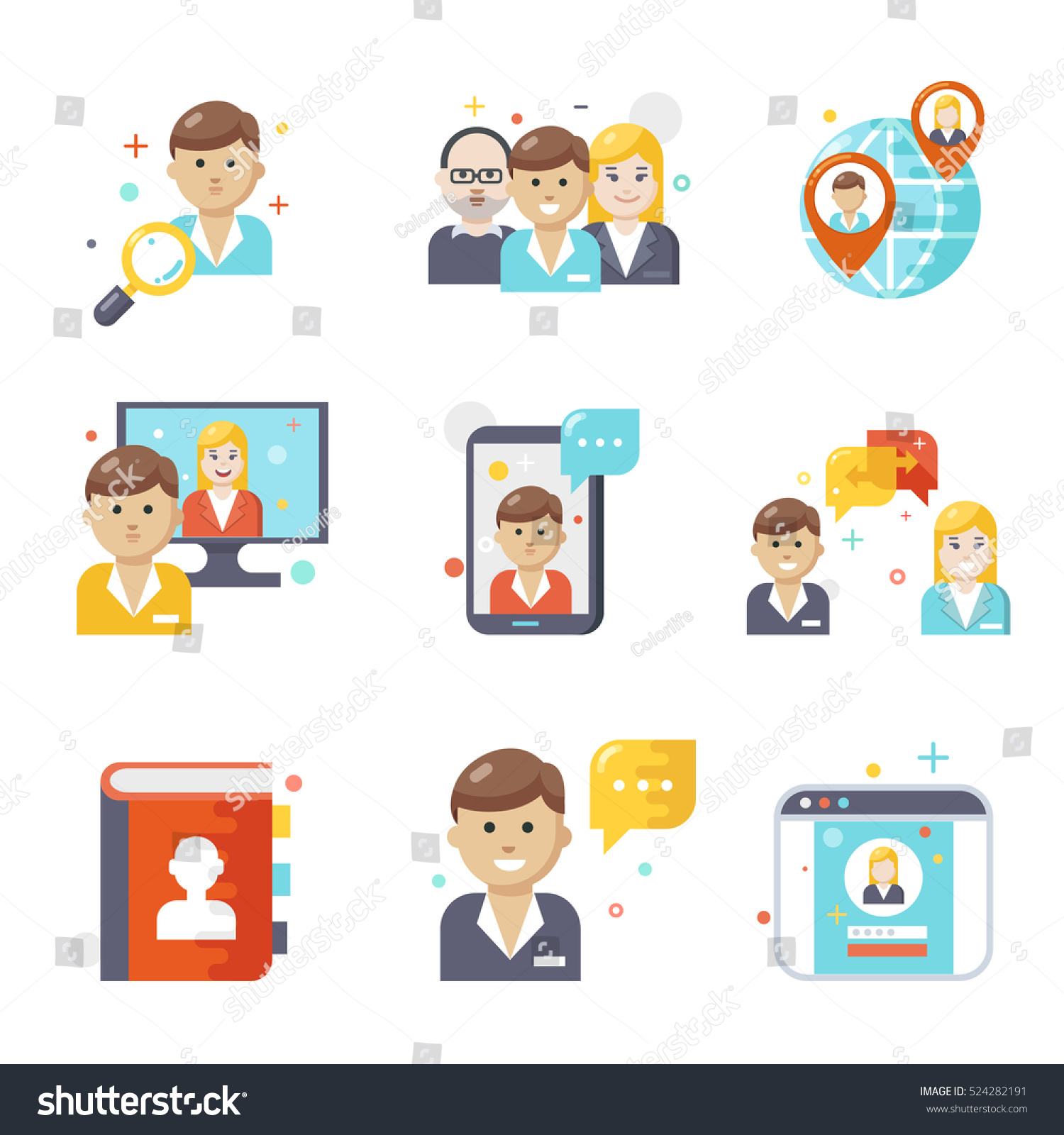 Social Media Icons Flat Design Stock Vector Royalty Free 524282191