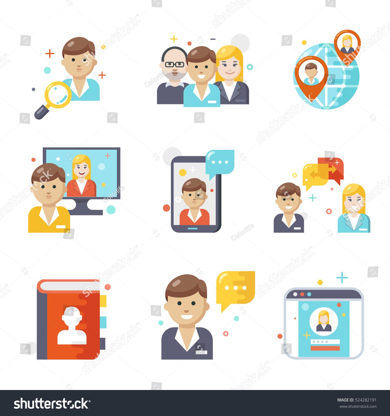 social media icons flat design stock vector illustration