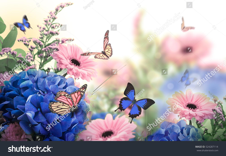 Amazing Background Hydrangeas Daisies Yellow Blue Stock Photo Edit
