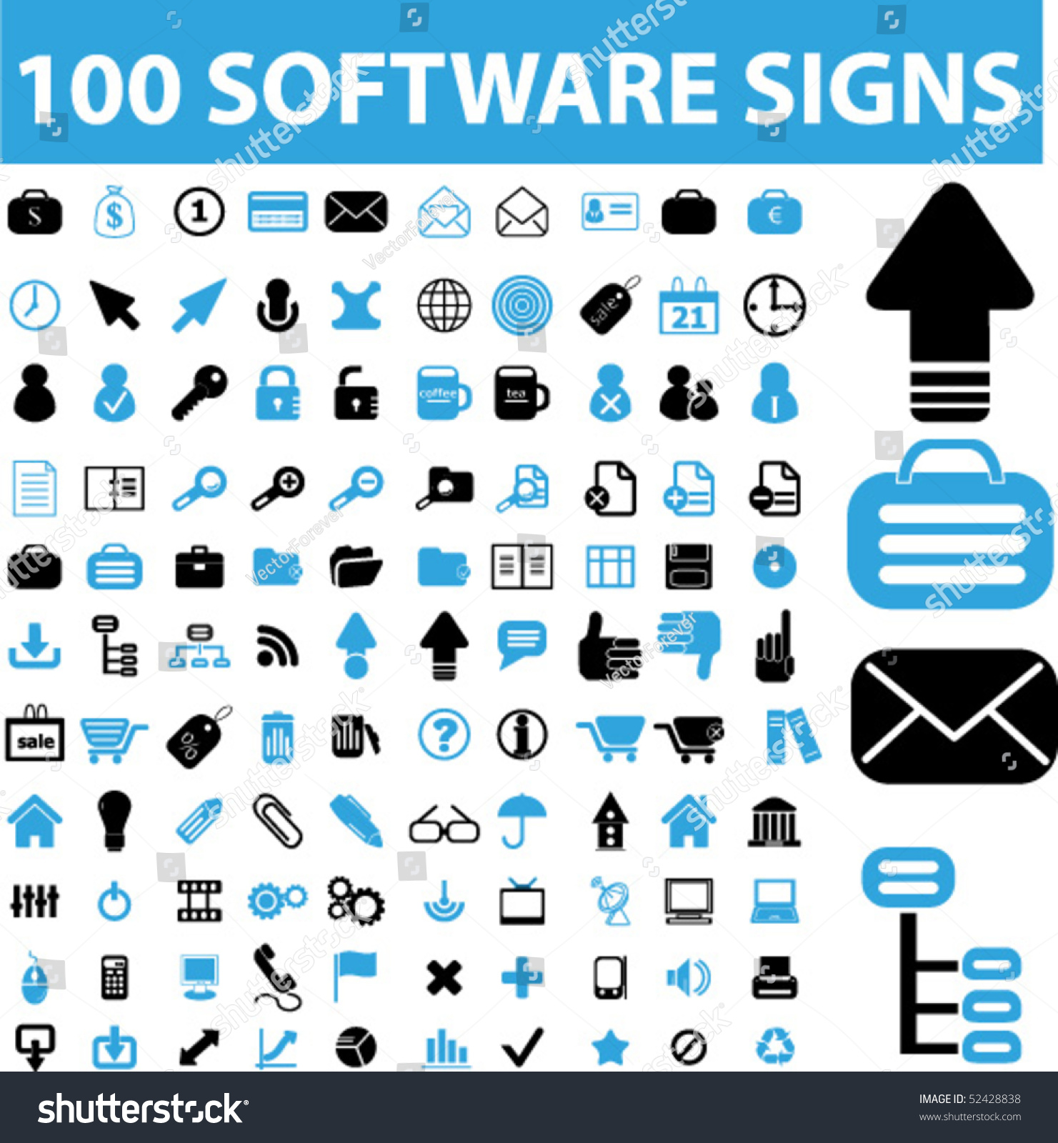 100 software signs vector 52428838 shutterstock Vector image software