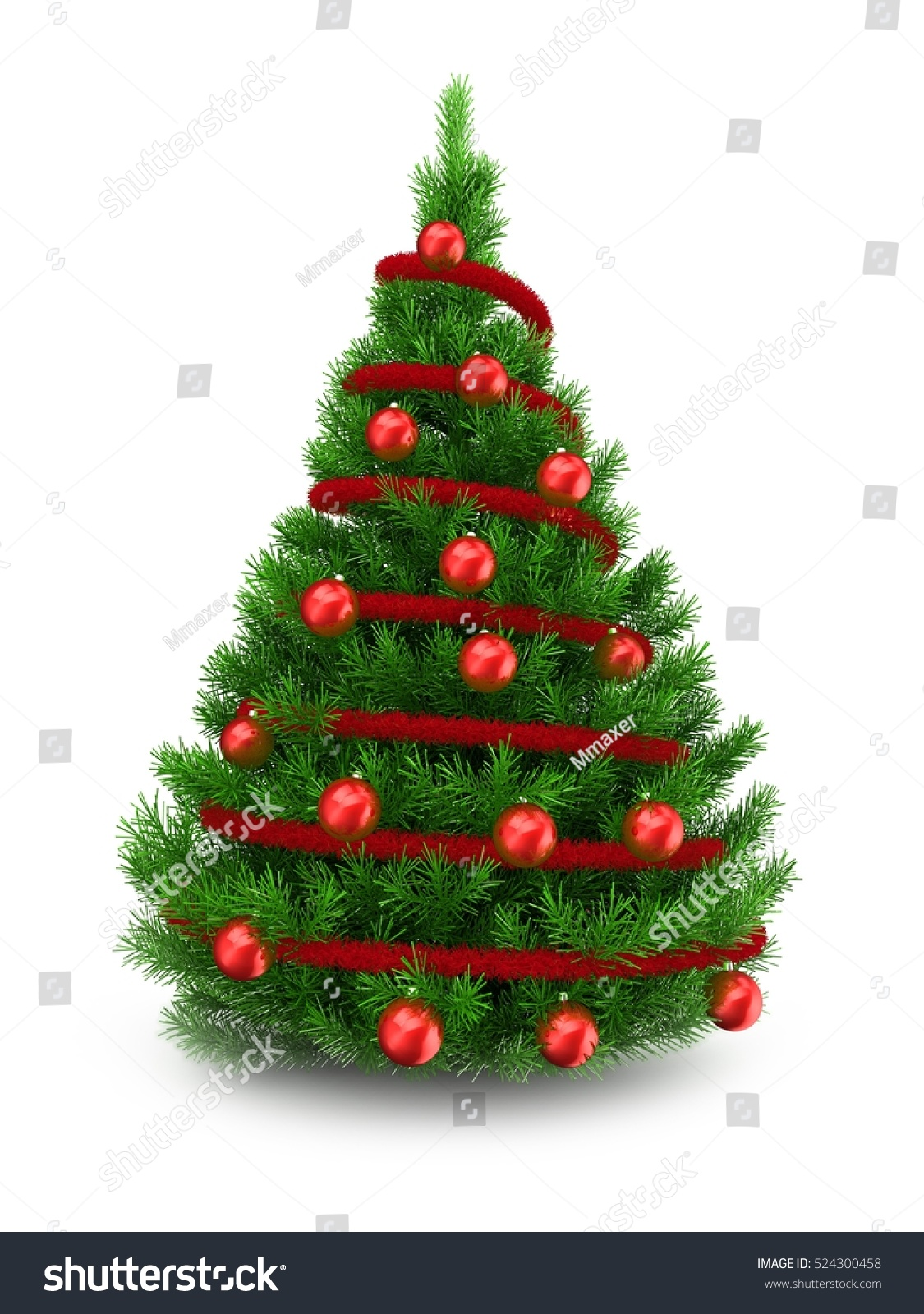 3d illustration of green christmas tree over white for Red and green christmas tree