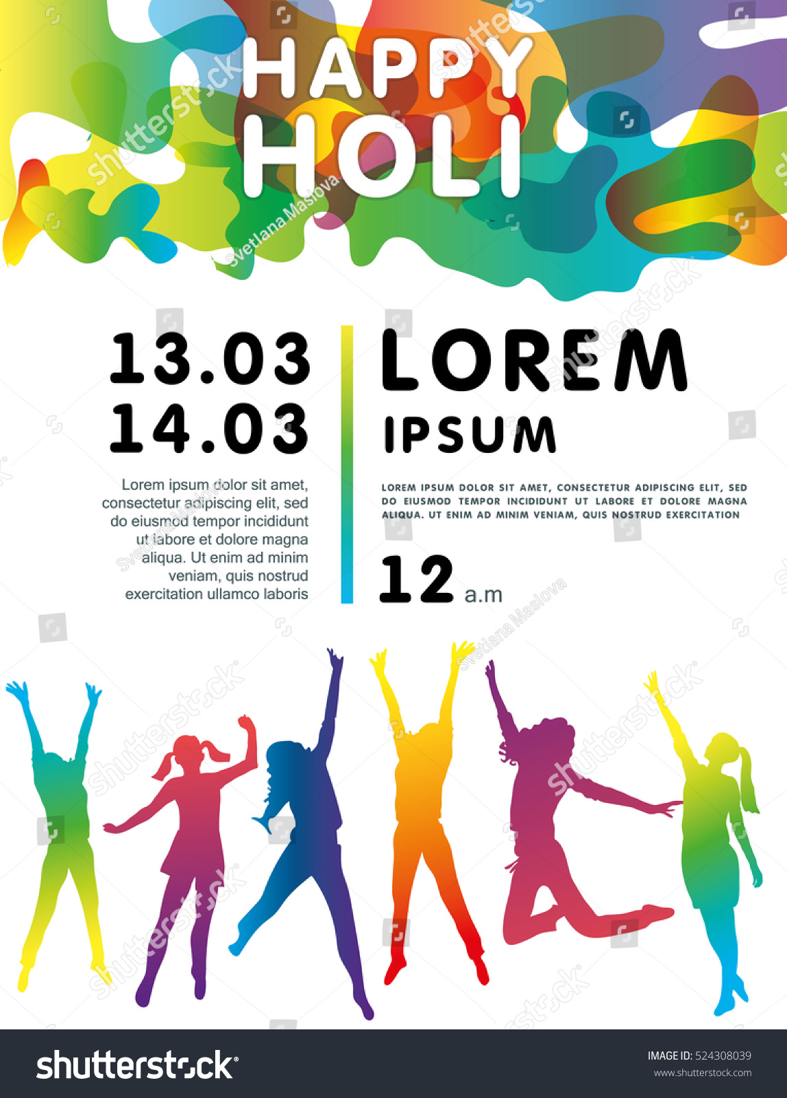 Holi Festival Poster People Jumping Greeting Stock Vector Royalty