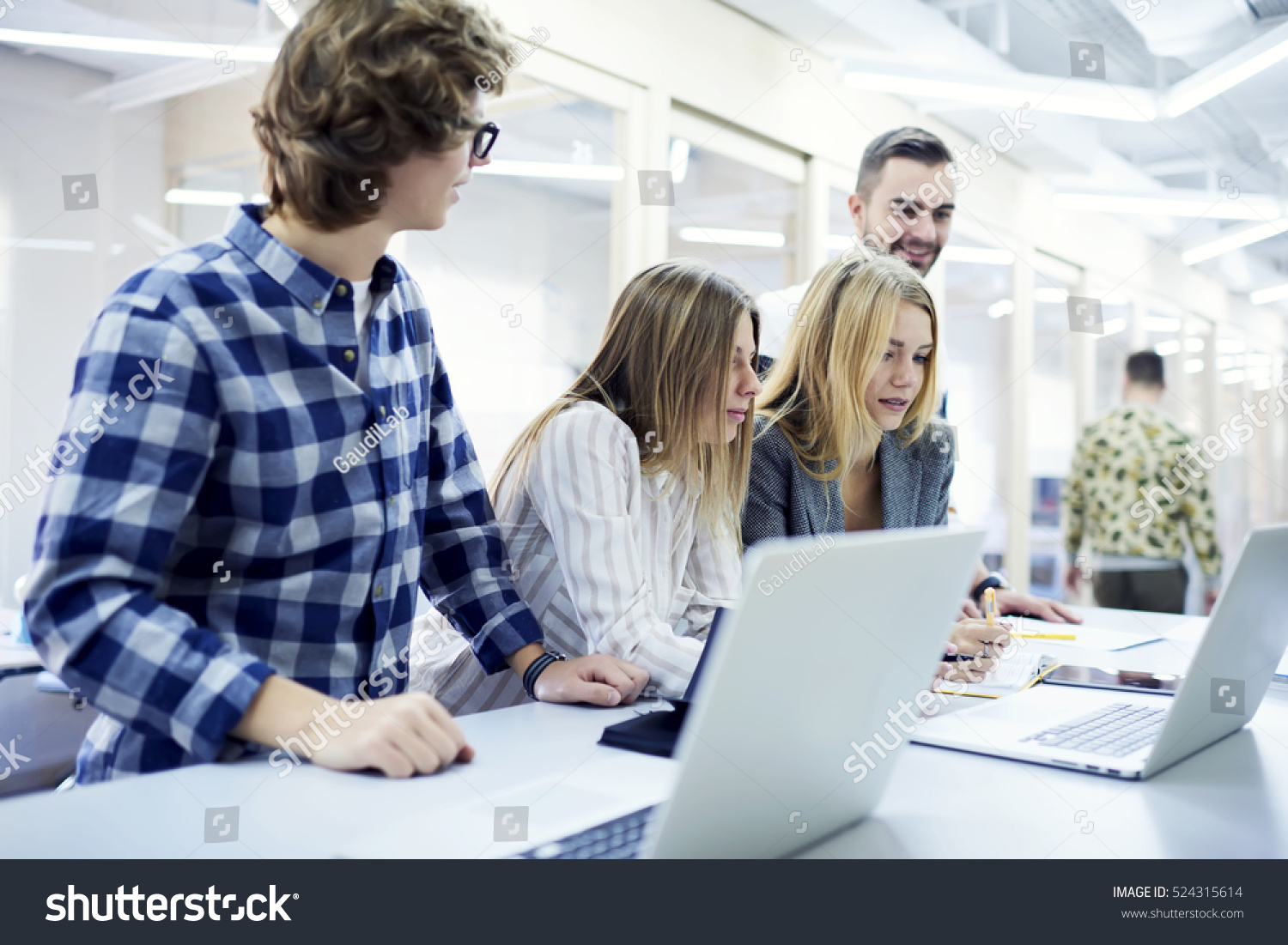 Two Female Skilled Journalists Searching Data Stock Photo -9476