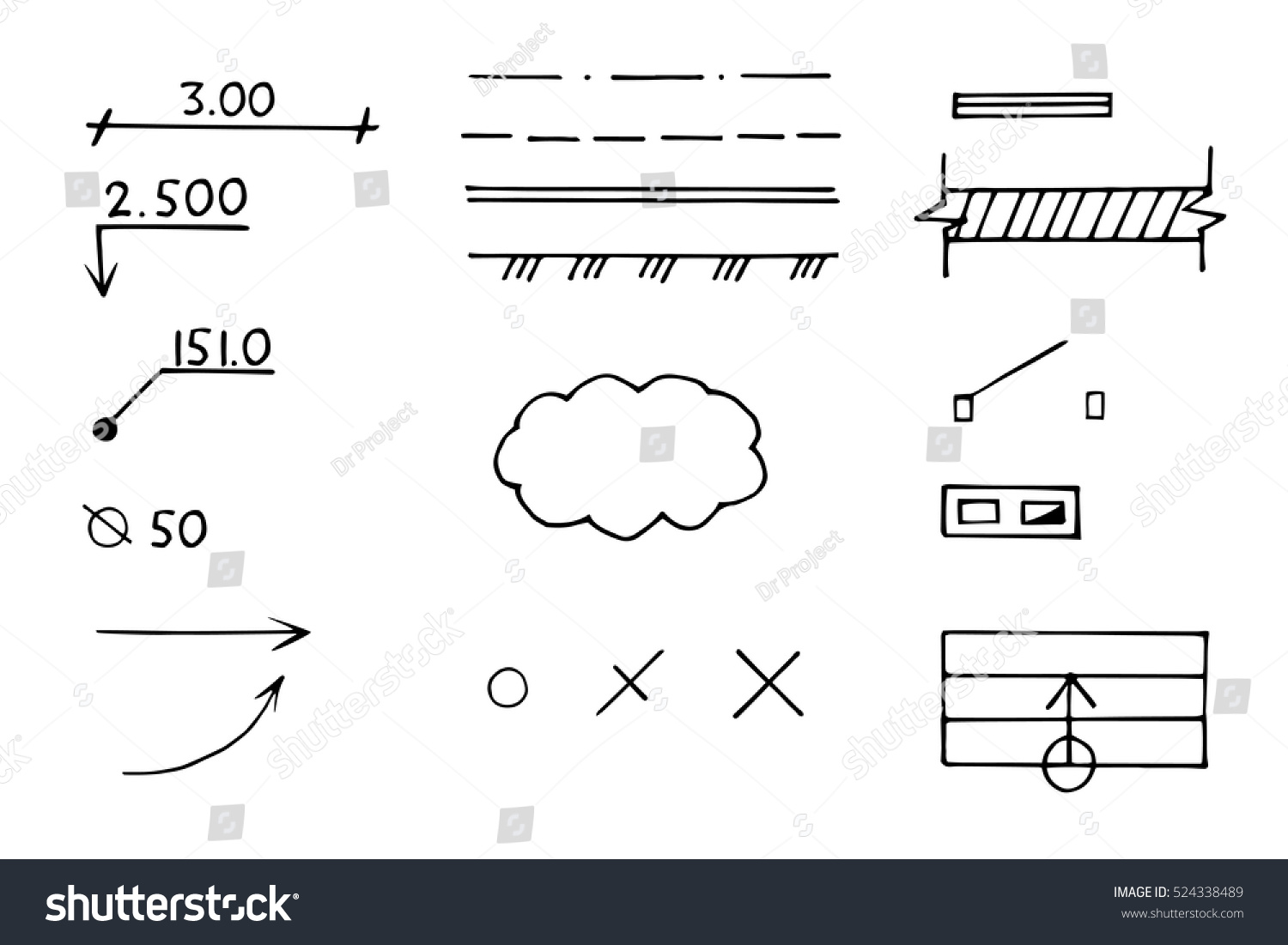 Architectural Engineering Signs Symbols Vector Hand Stock Vector