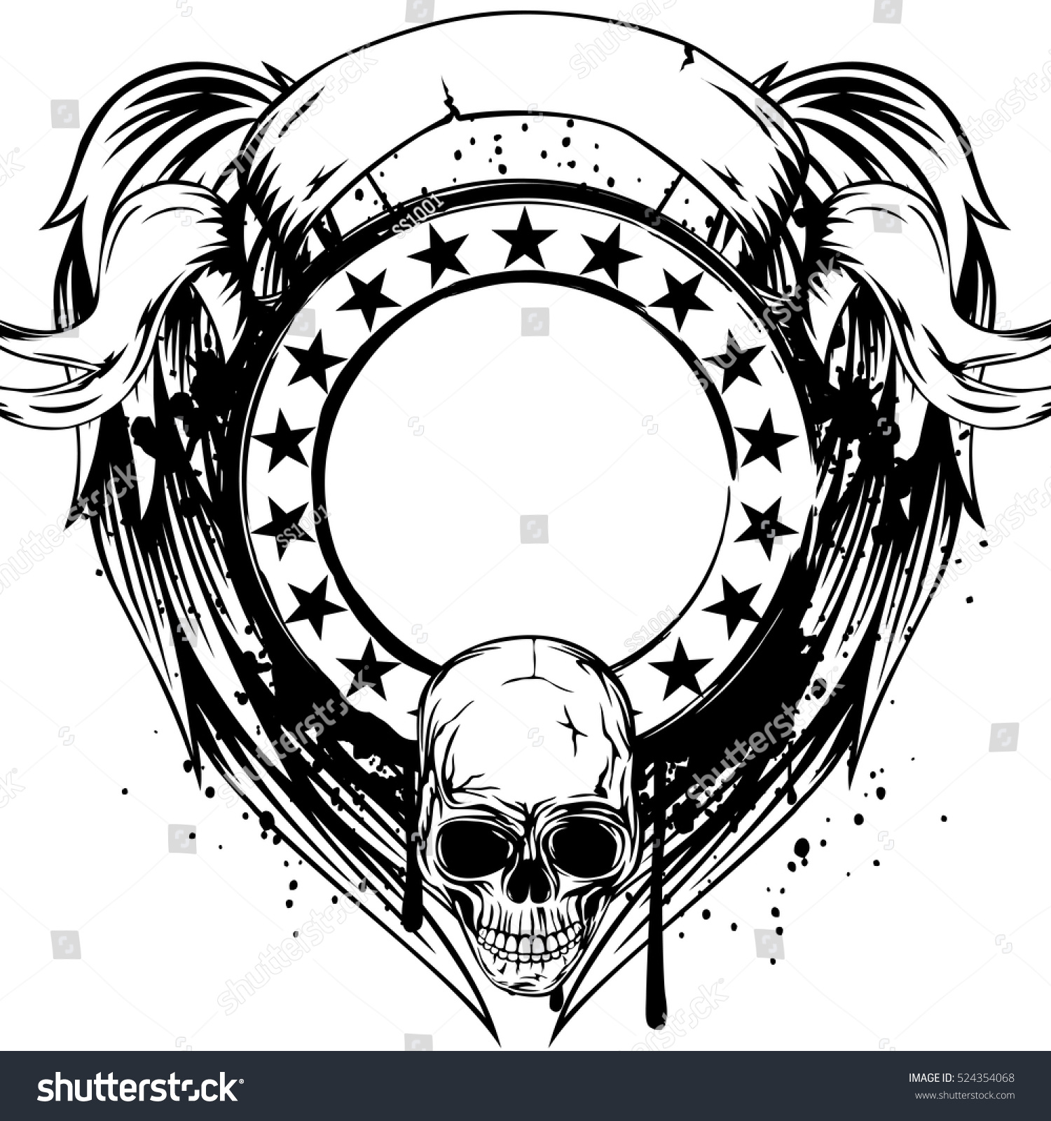 Vector Illustration Skull Frame Stars On Stock Vector (2018 ...