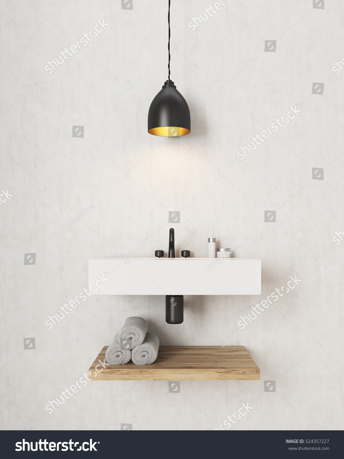 Bathroom Interior There Large Rectangular Sink Stock Illustration ...