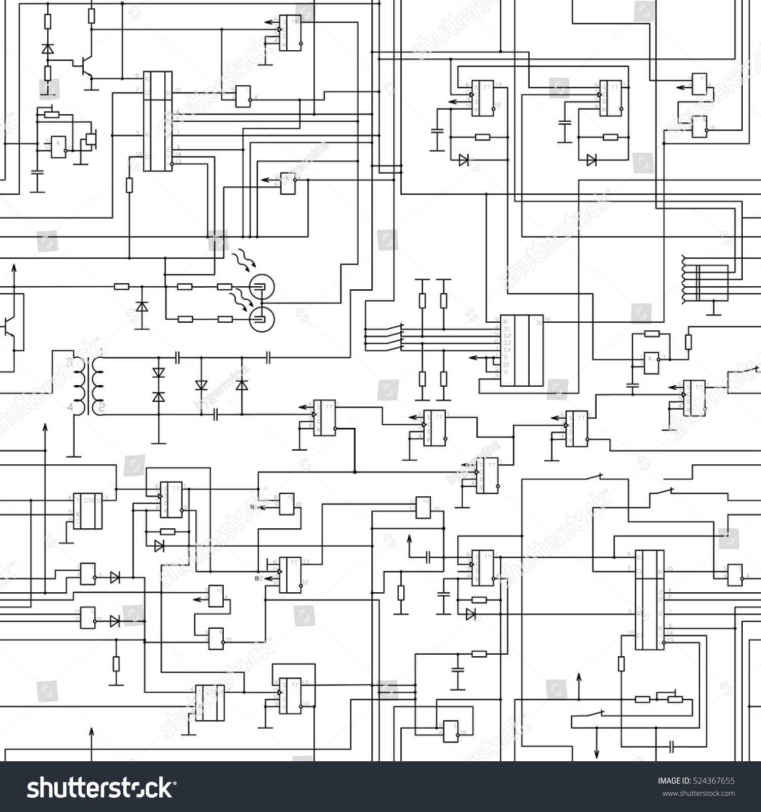 Vector seamless electrical circuit diagram pattern.