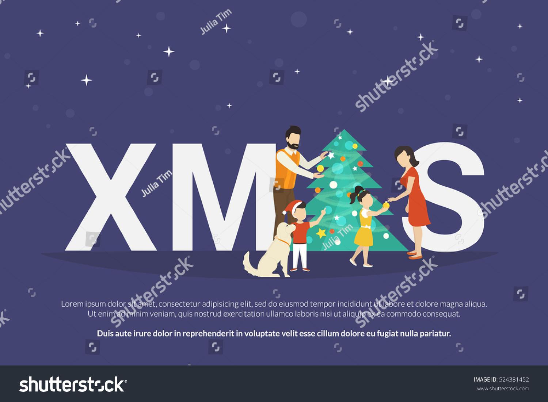 Xmas Concept Illustration Happy Family Kids Stock Vector 524381452