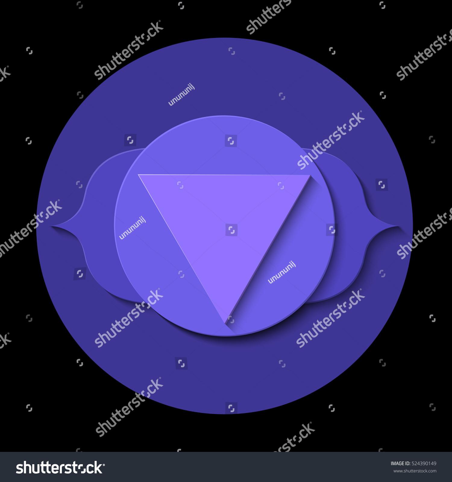Vector Ajna Chakra Icon Color Yoga Stock Vector 2018 524390149
