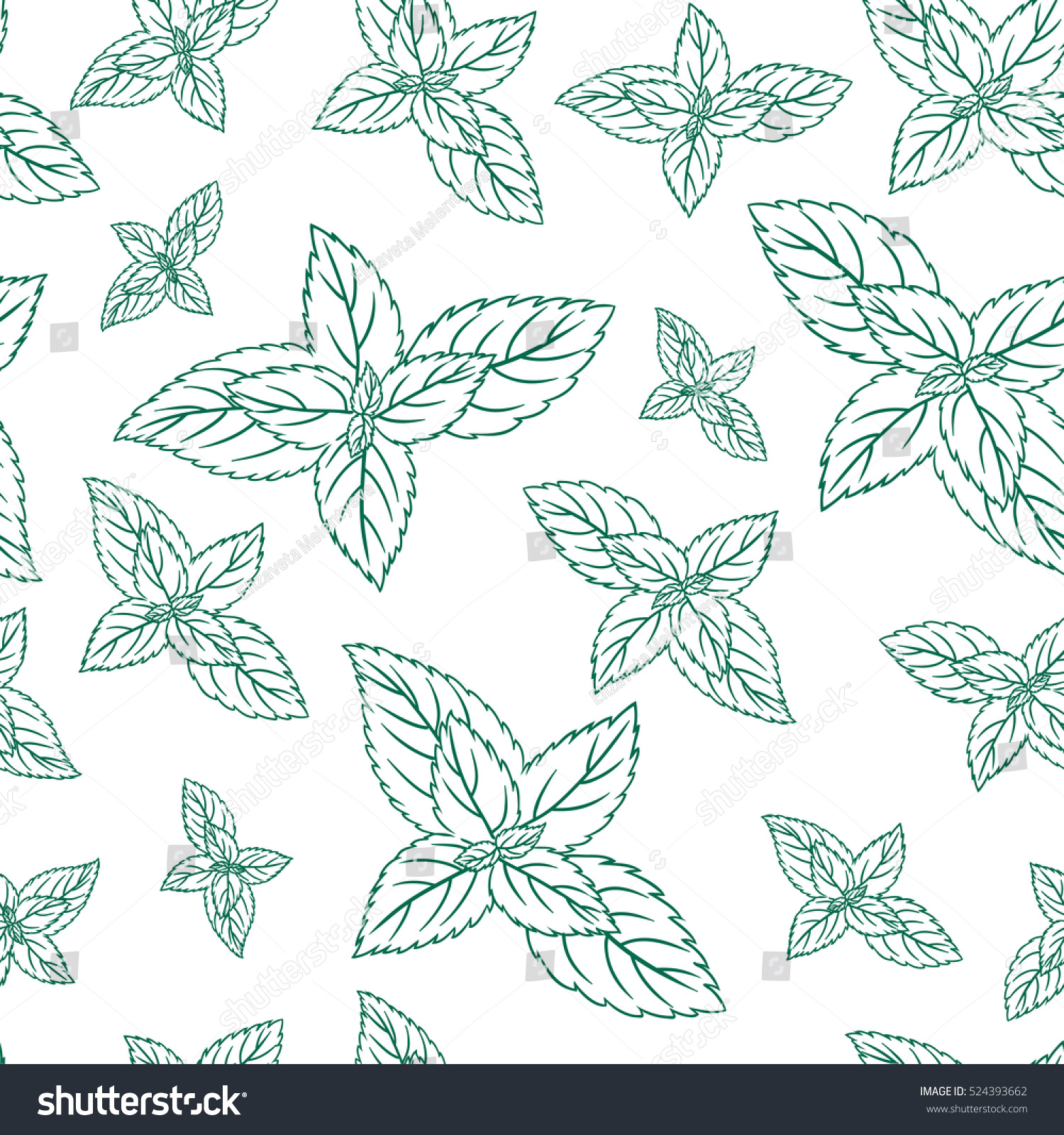 Mint Leaves Peppermint Isolated On White Stock Vector (Royalty Free ...