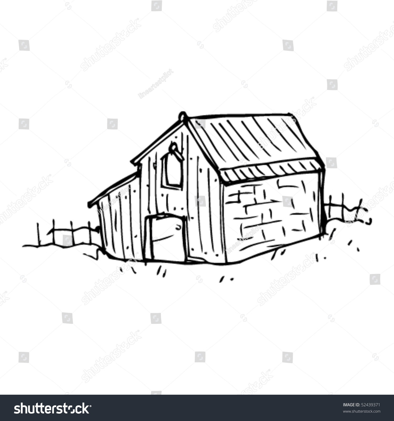 Quirky Drawing Of An Old Barn