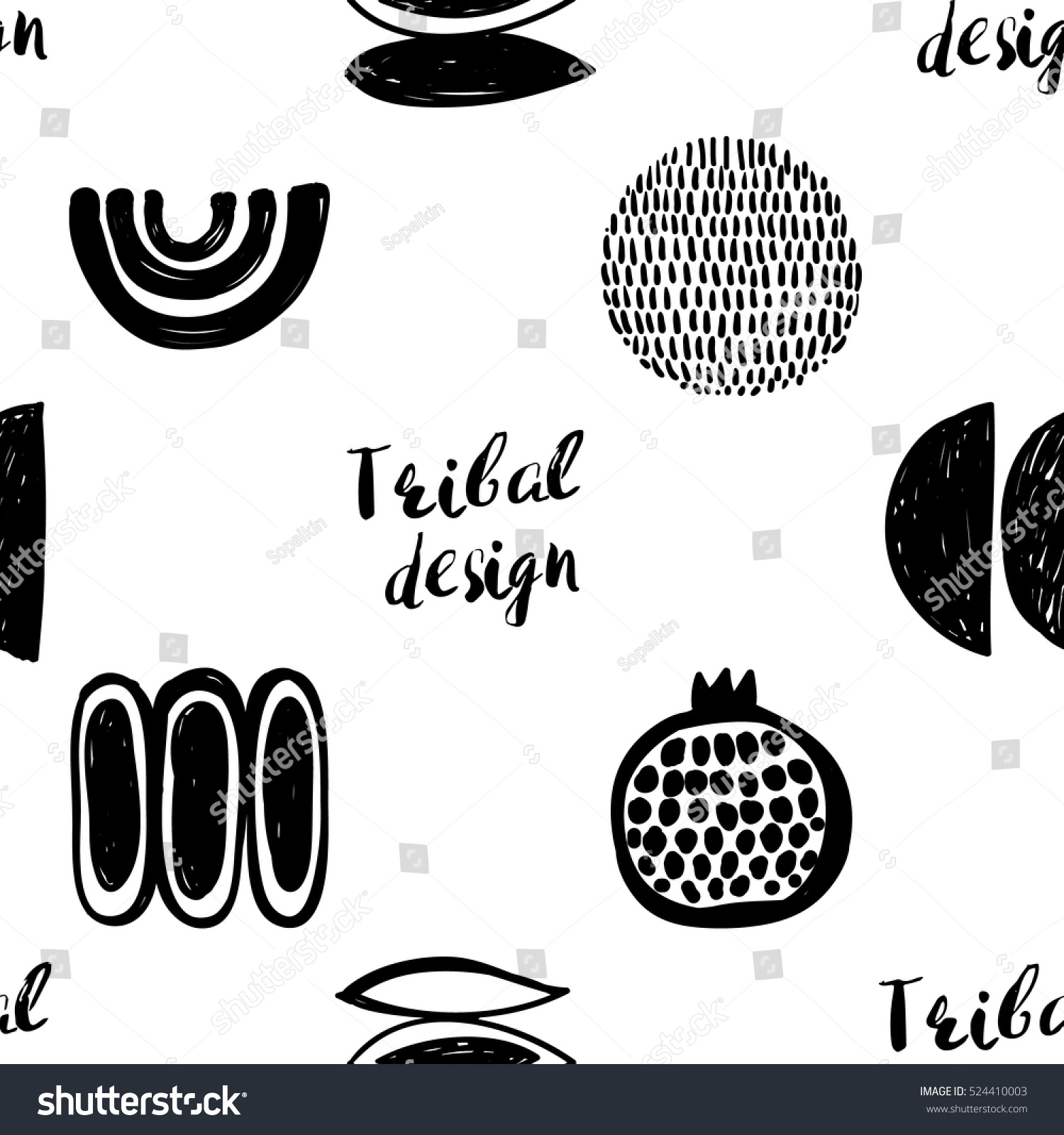 monochrome tribal seamless pattern with pomegranate crescent seed maize corn curves