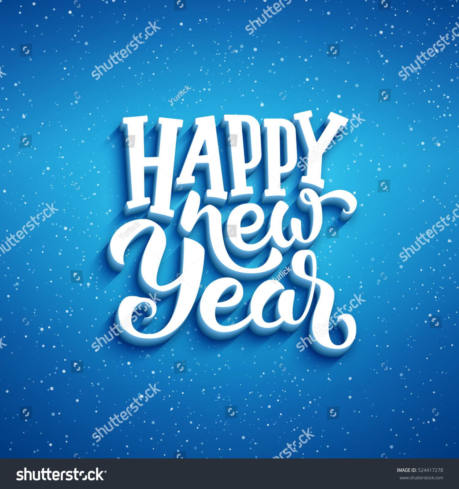 Happy New Year lettering on blue blurry vector background with sparkles. Greeting card design template with 3D typography label #524417278