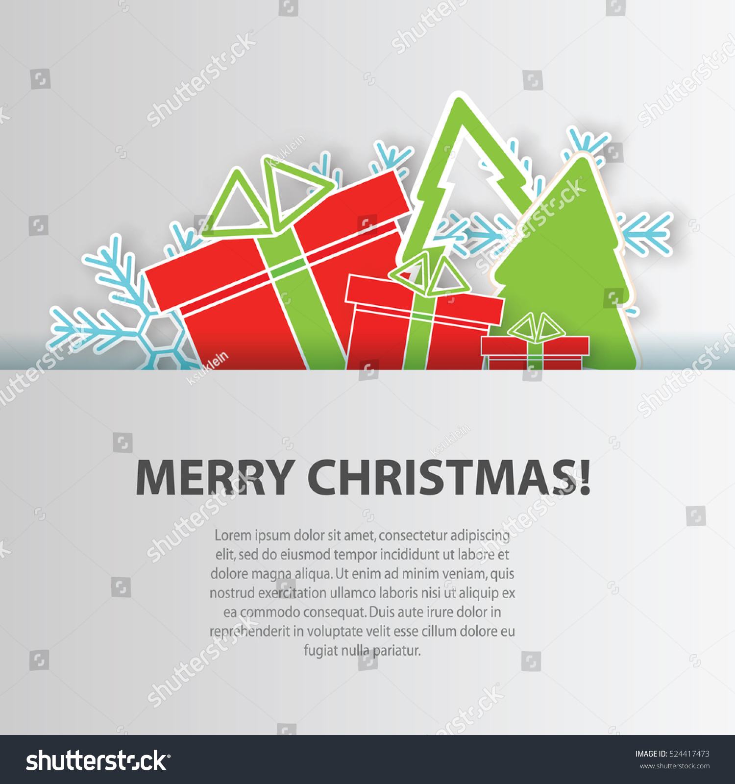 Merry christmas greeting card paper craft stock vector for Craft paper card stock