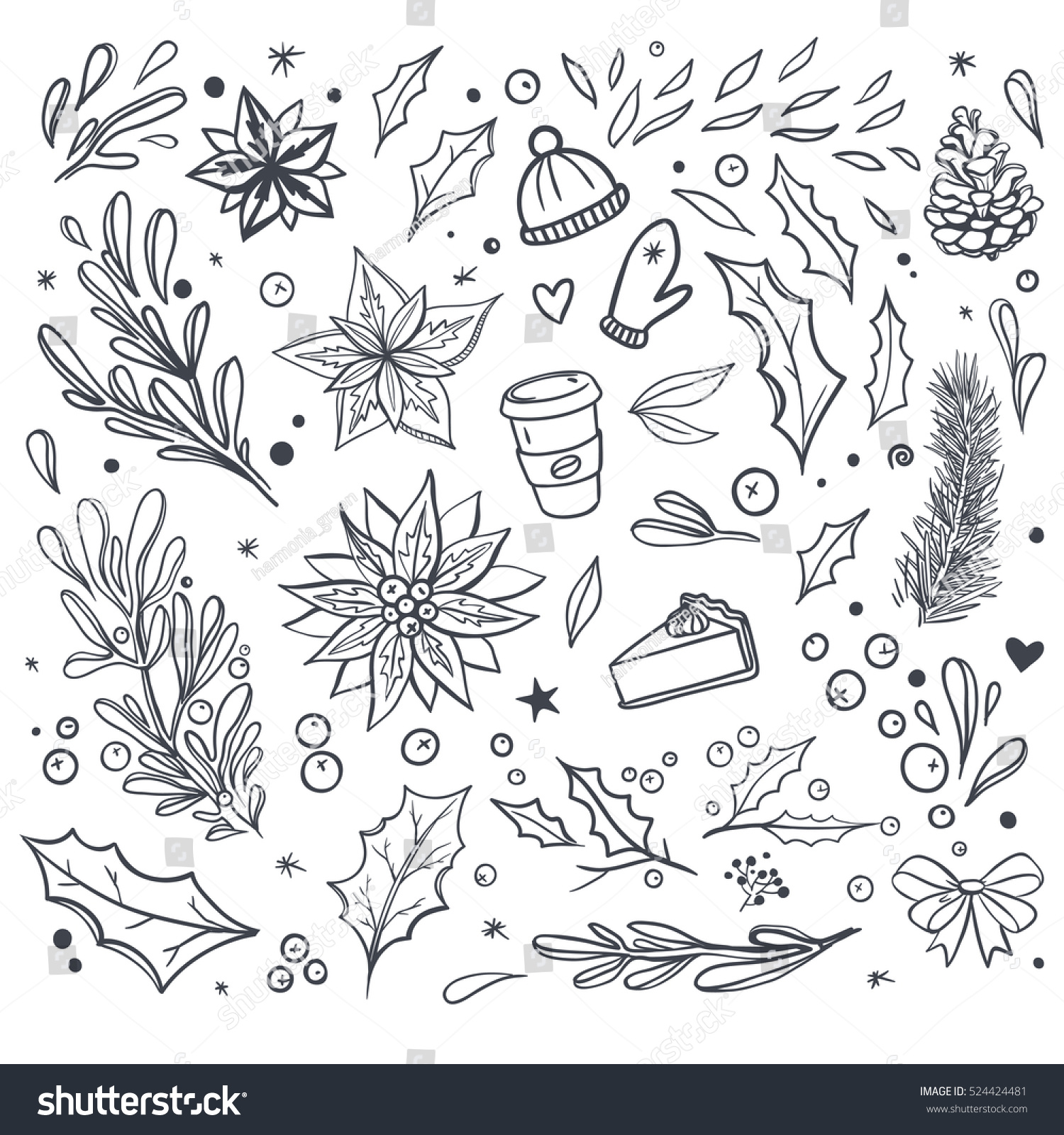 Set Christmas Vector Doodles Isolated On Stock Vector (Royalty Free ...