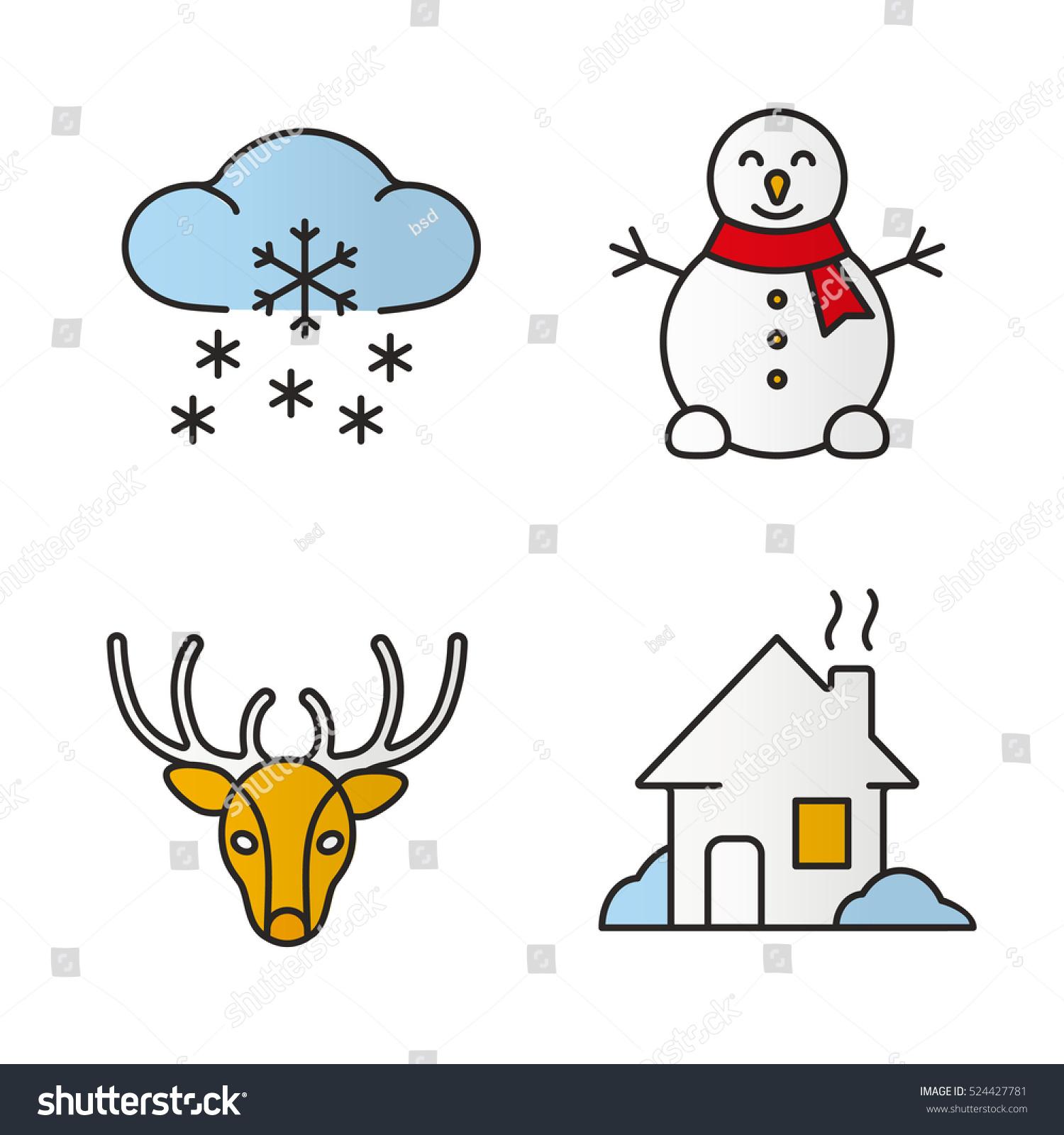 Winter Season Color Icons Set Snowman Stock Vector (Royalty