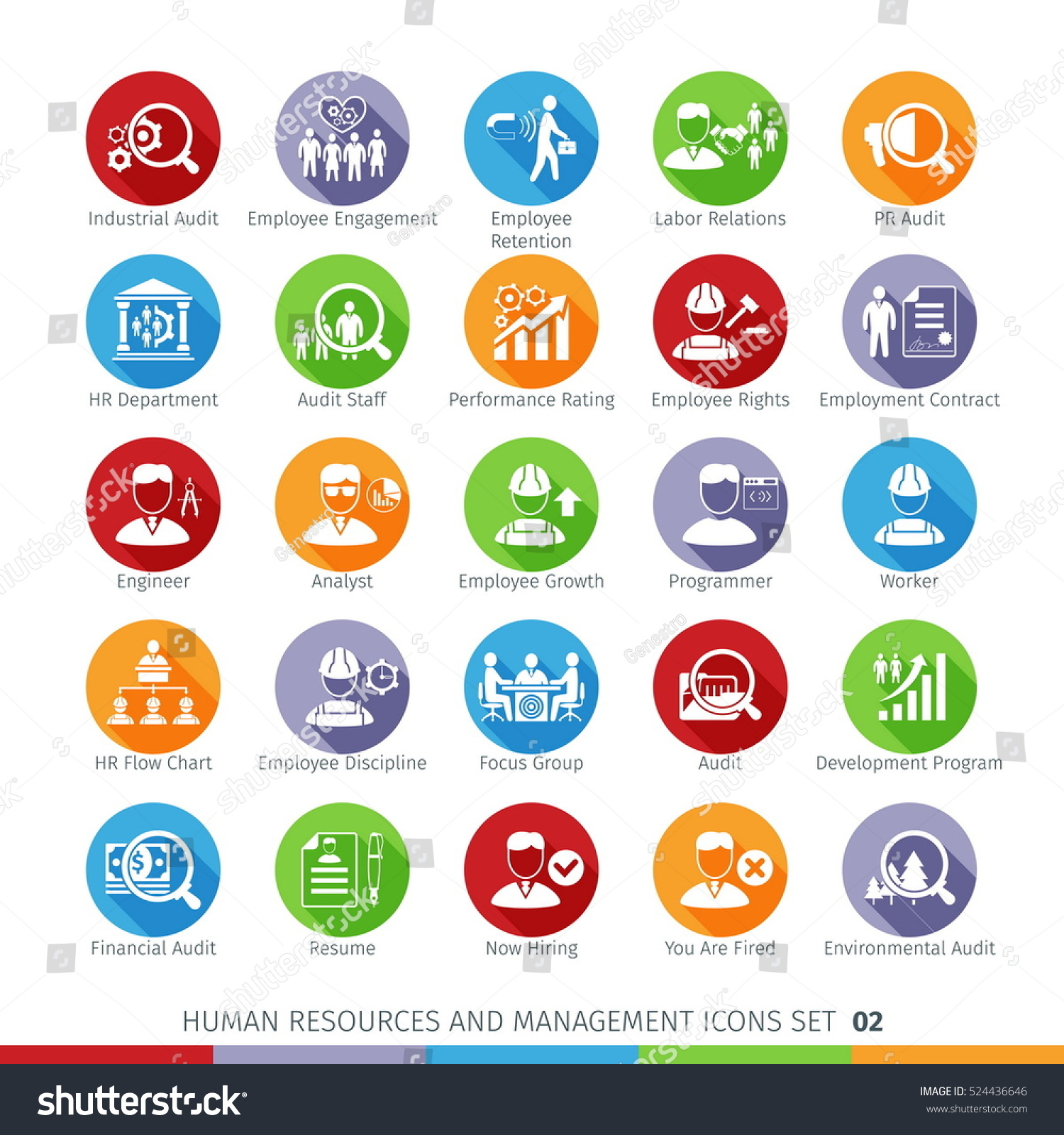 modern human resources management icons set stock vector